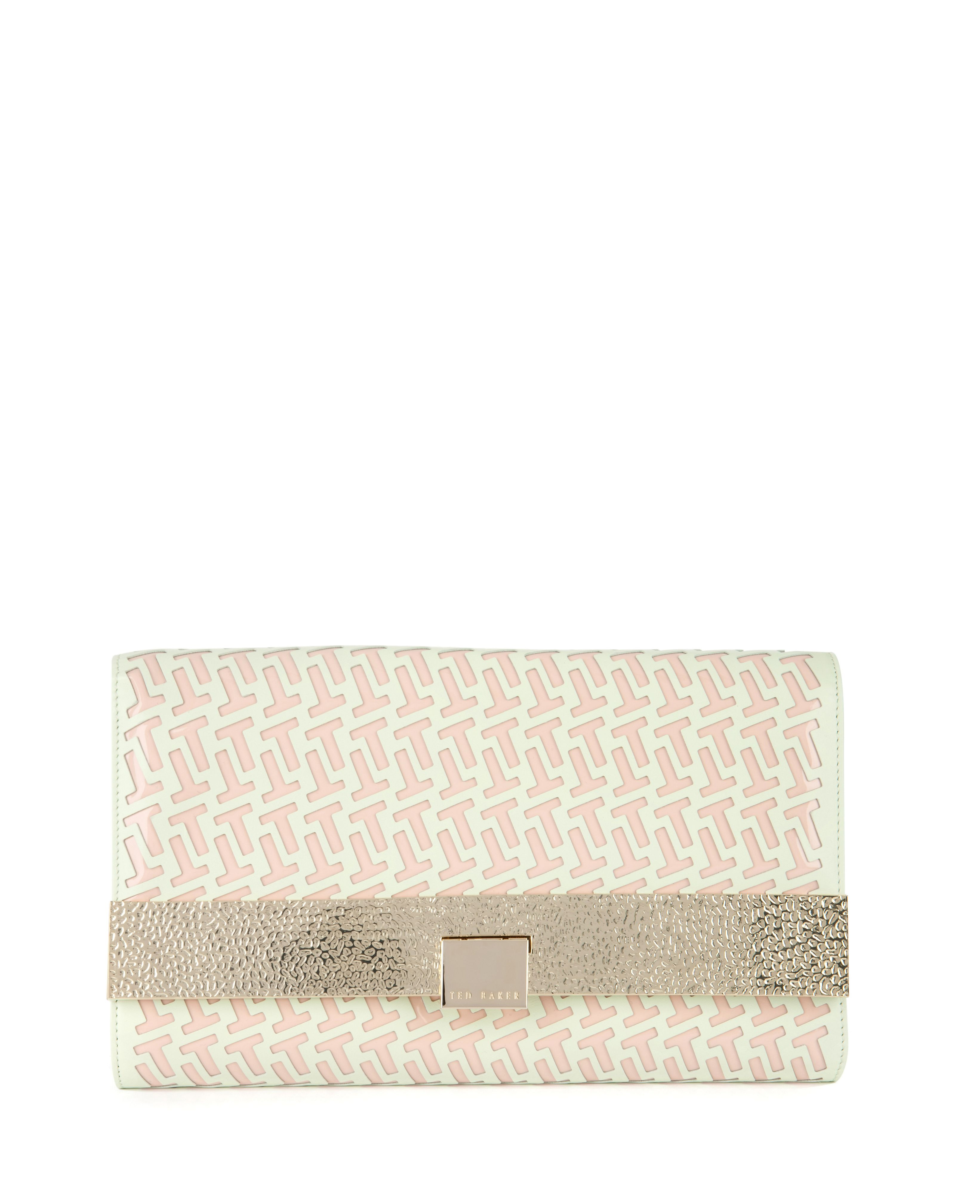 Stallar leather laser cut clutch
