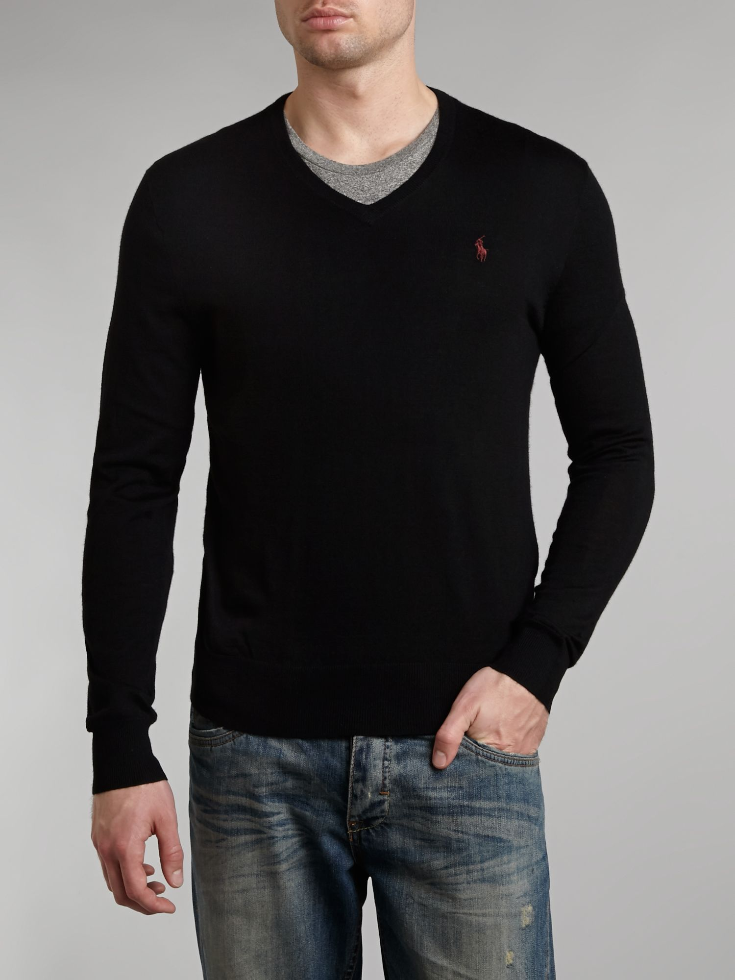 Slim fit fine knit merino wool v neck jumper