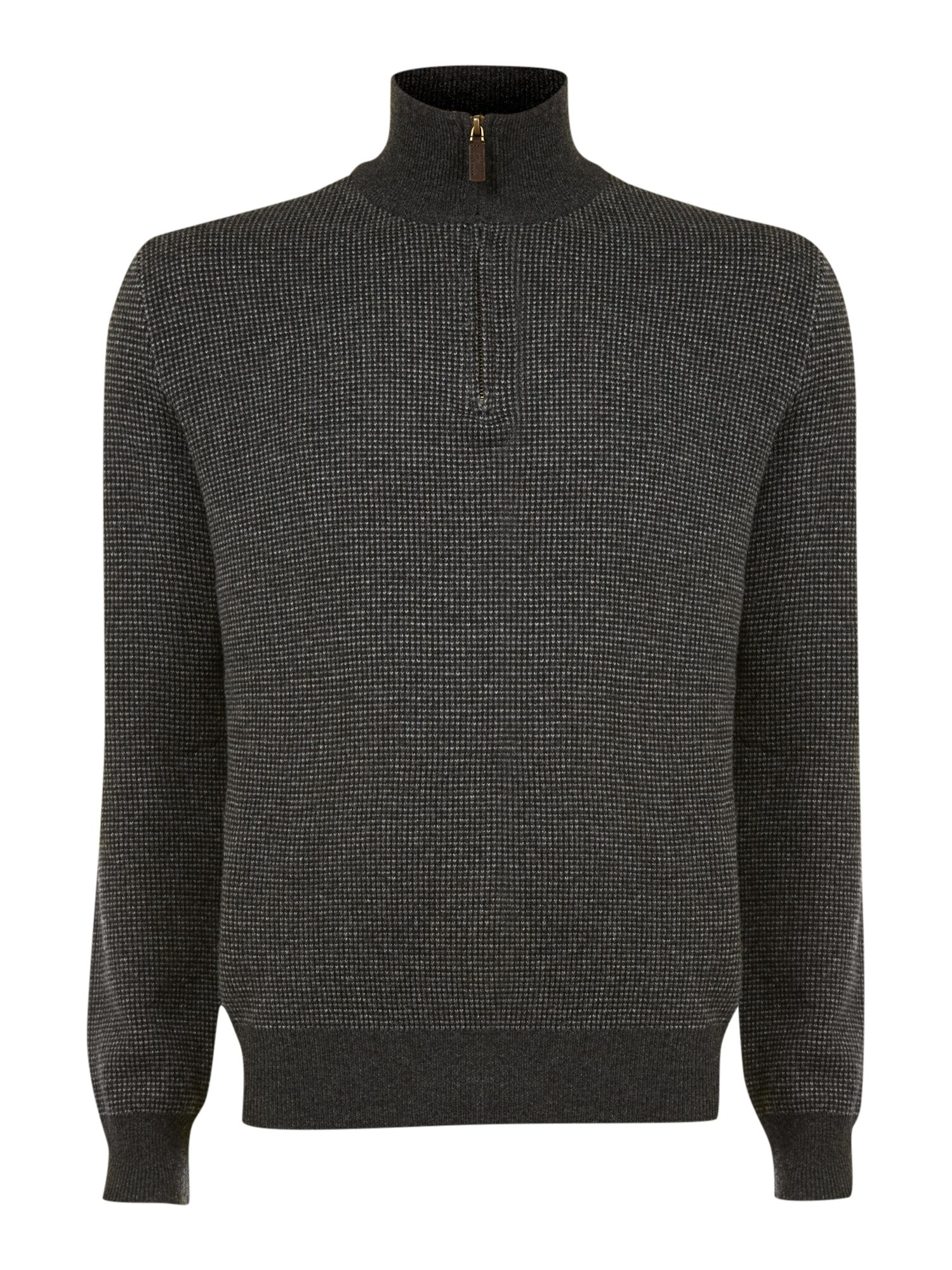 Ticking half zip jumper