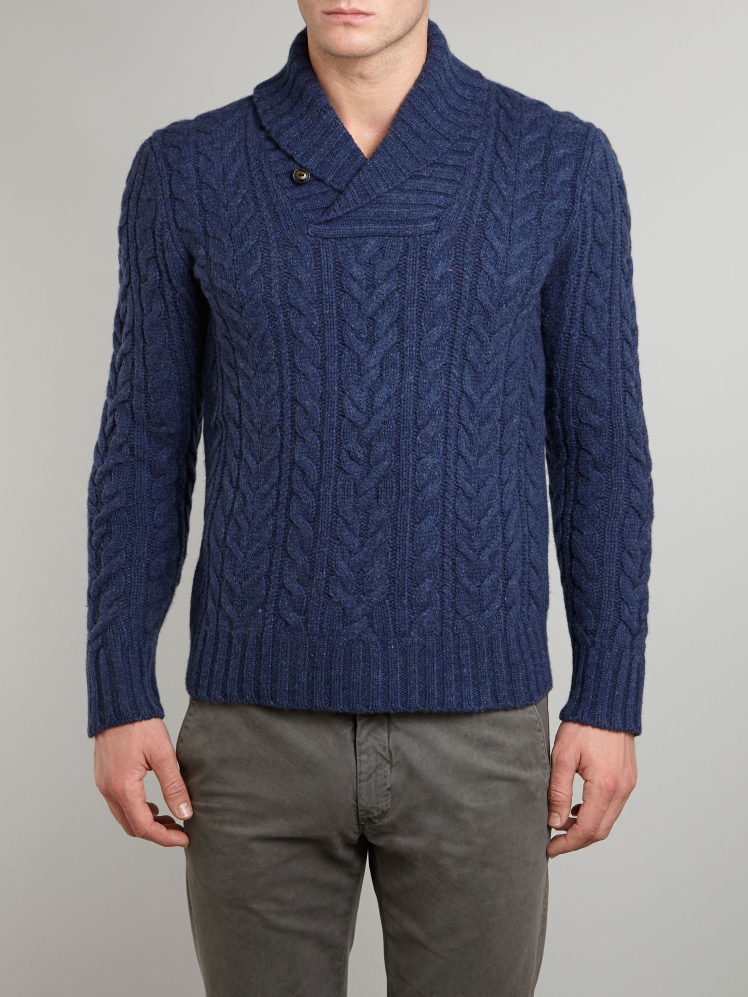 Aran cable knit shawl collar jumper