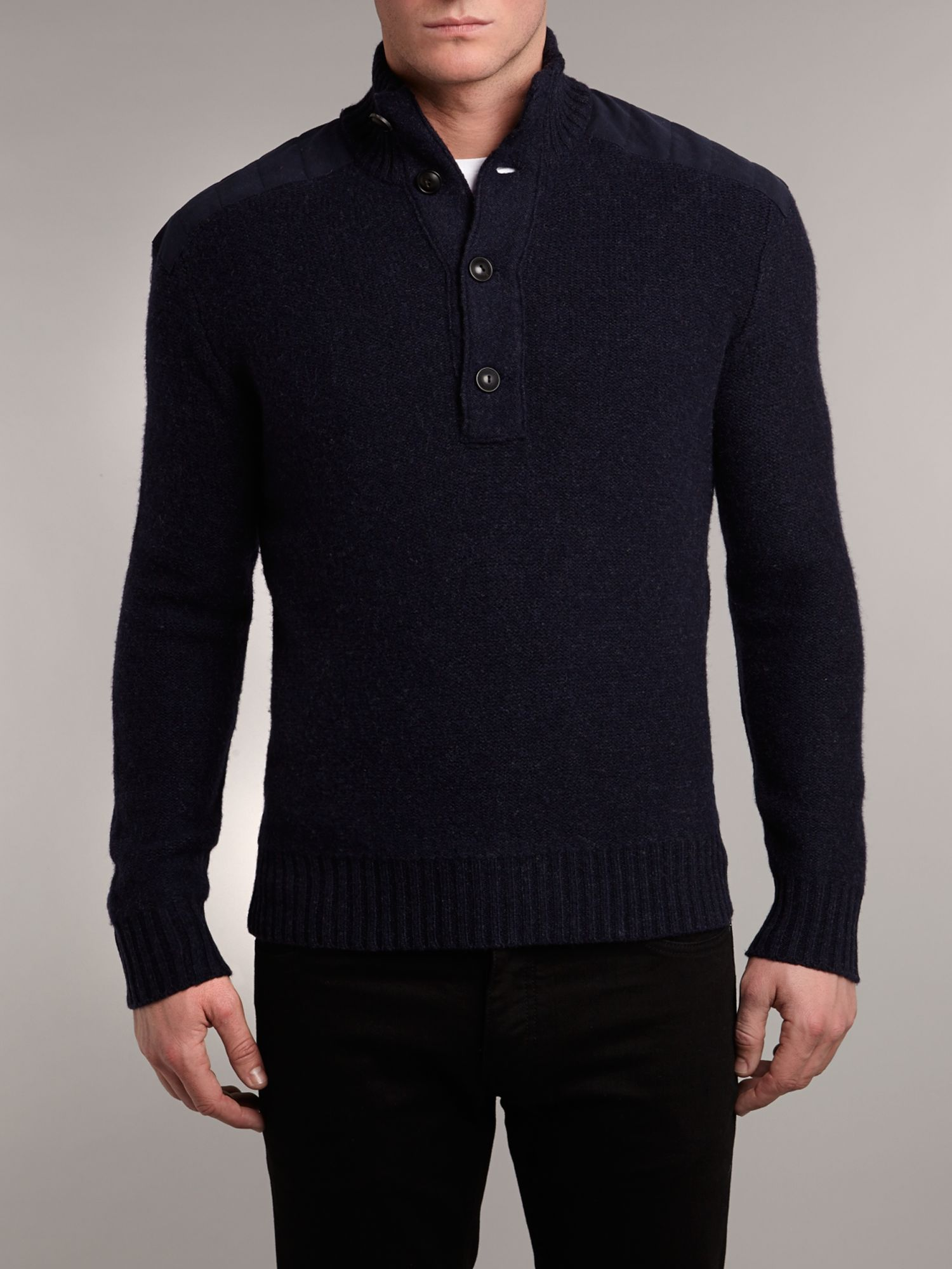 Holiday half button mock jumper