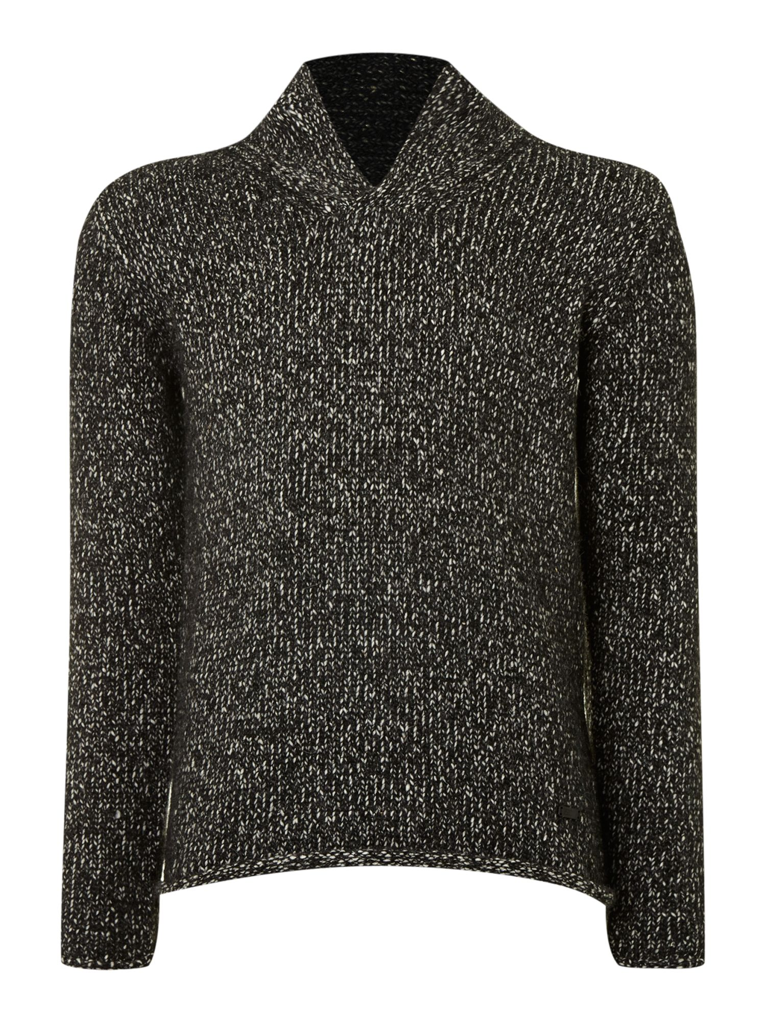 Chunky wool shawl neck slim fit jumper