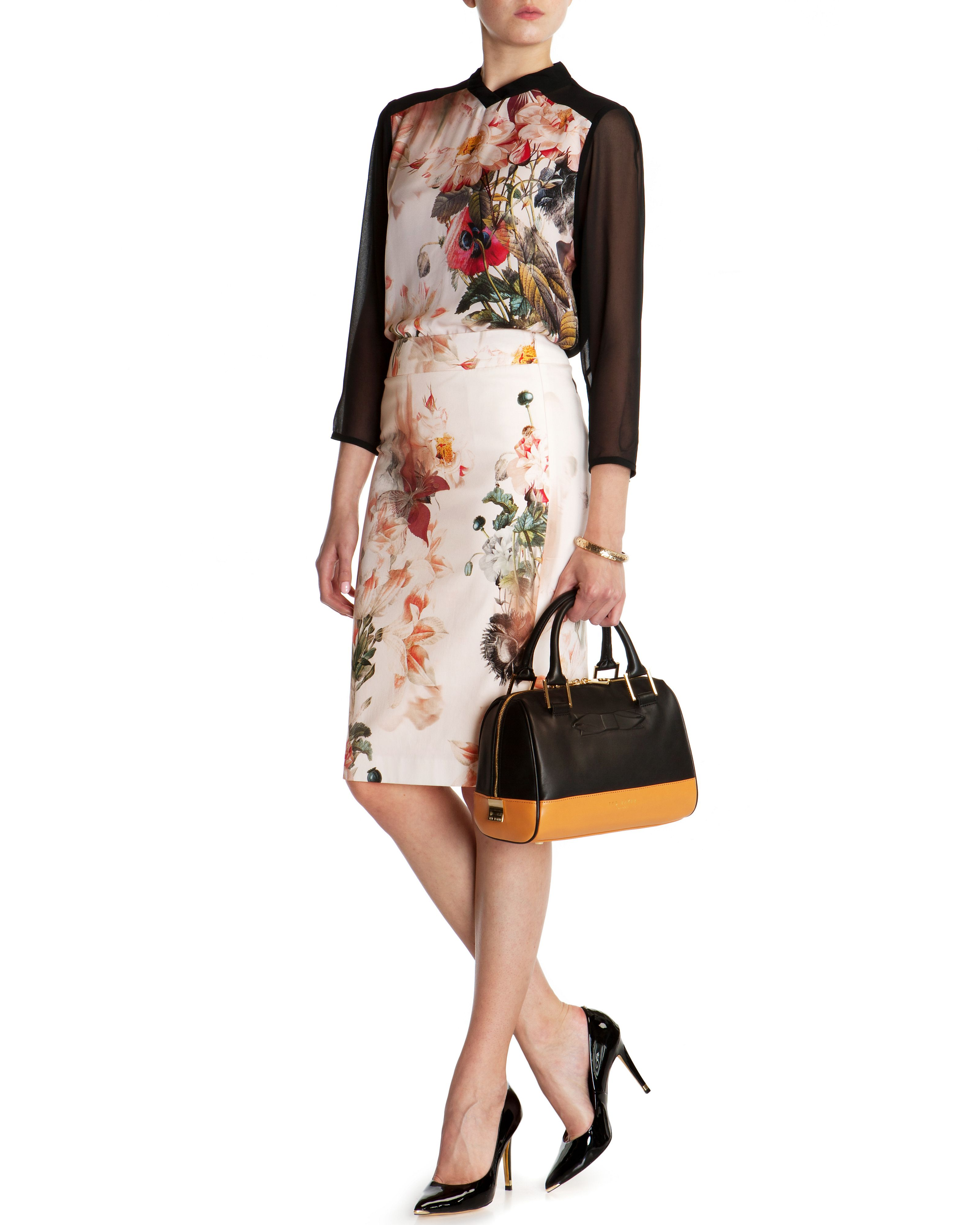 Liliyah opulent bloom pencil skirt