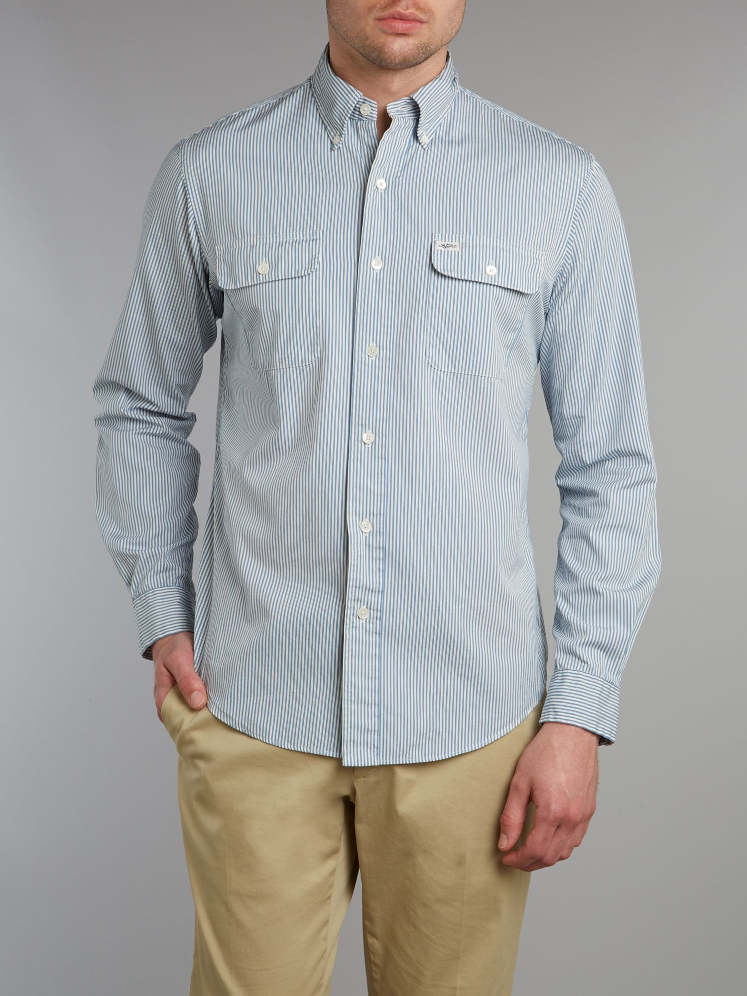 Long sleeve fine stripe shirt