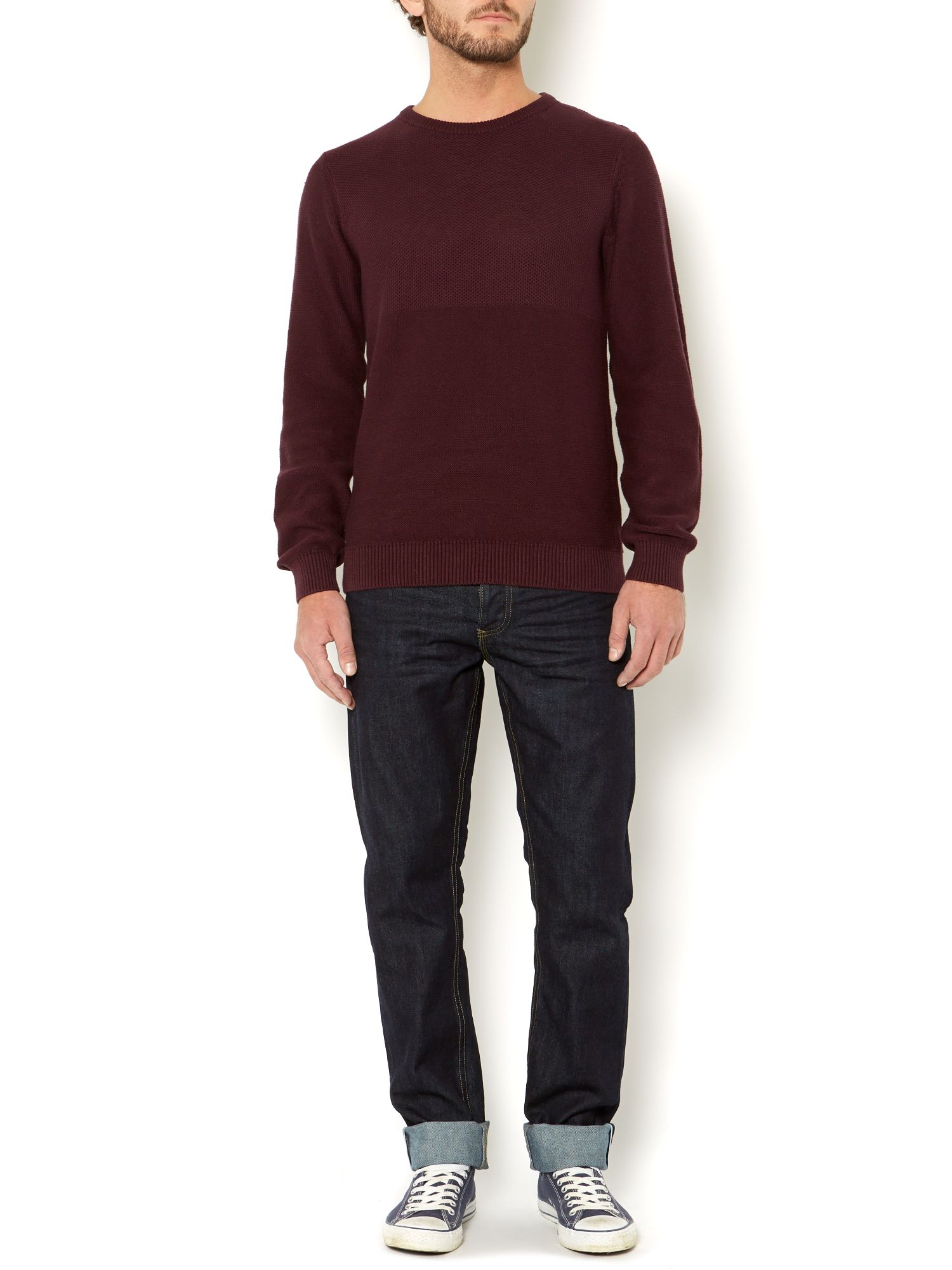pelham plain textured crew neck knit