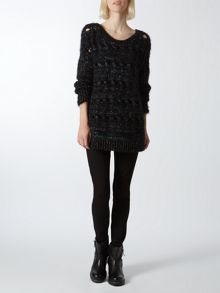 Metalic eyelash jumper