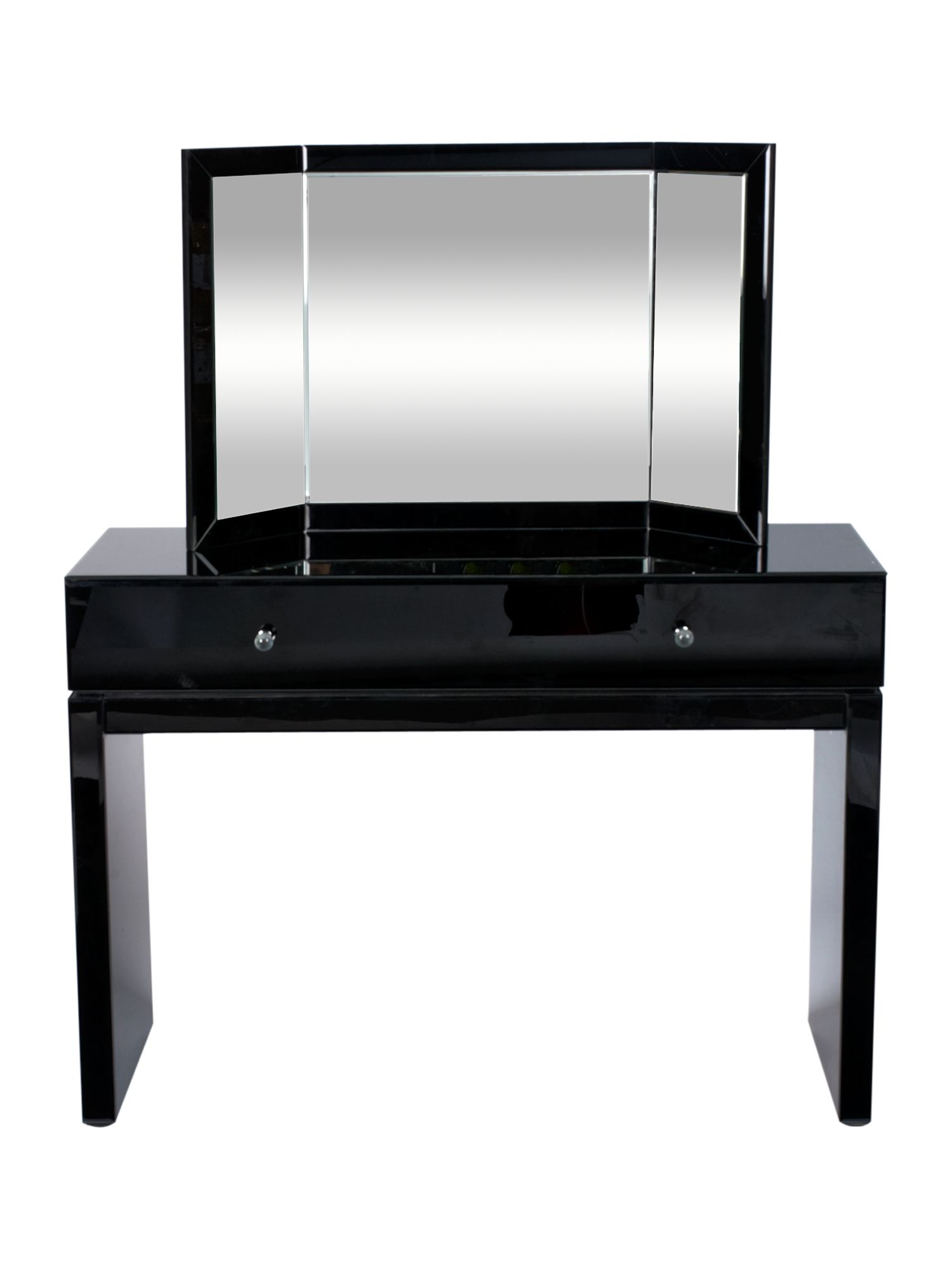 Pied a terre kelly dressing table and mirror black glass for 90cm dressing table