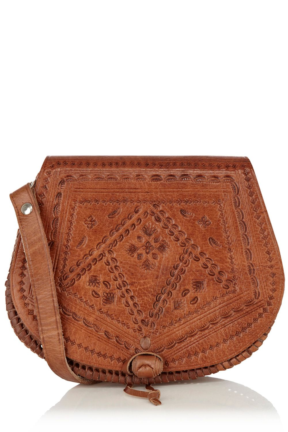 Tooled cross body leather bag