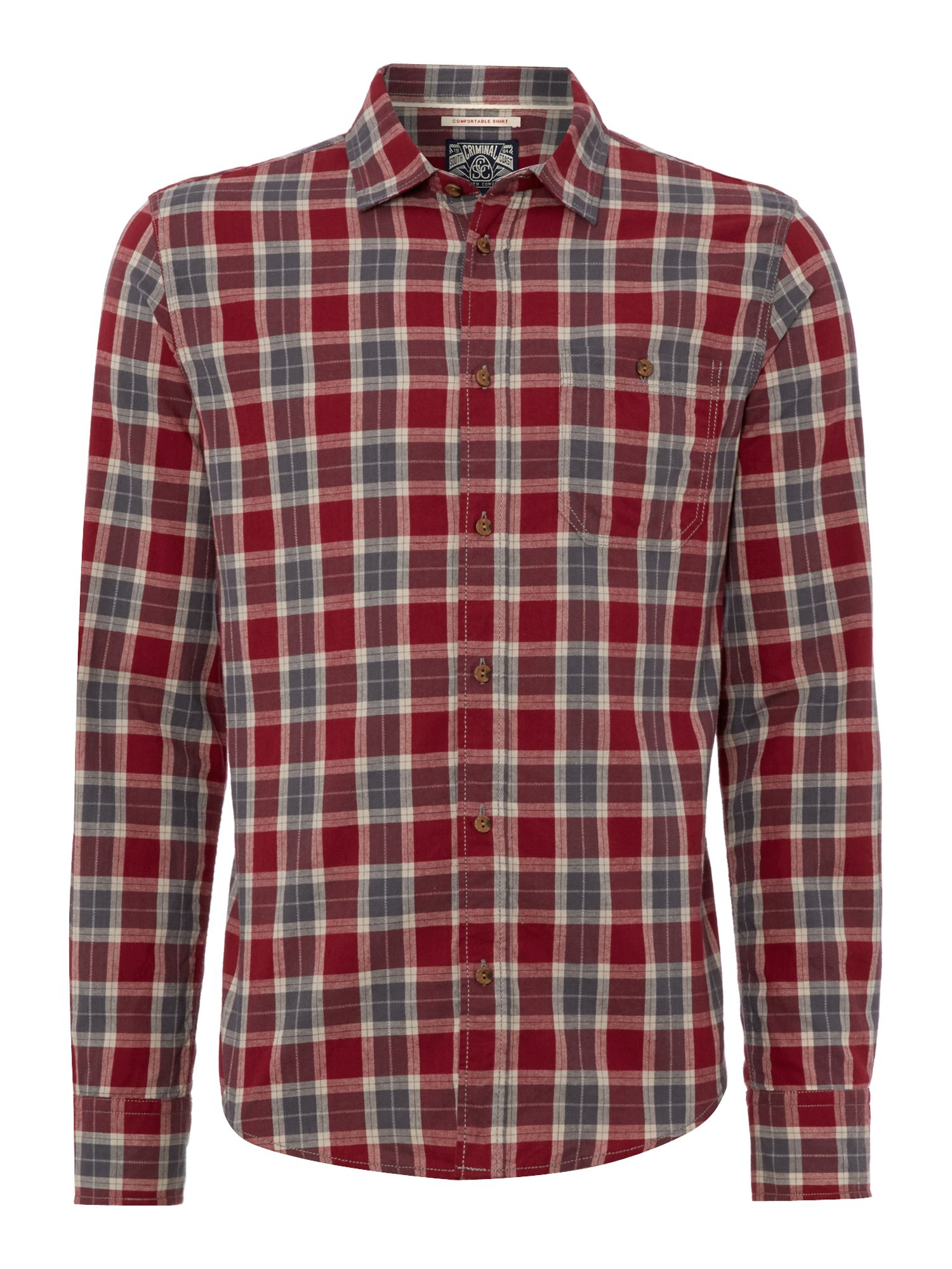 Houston twisted check long sleeve shirt
