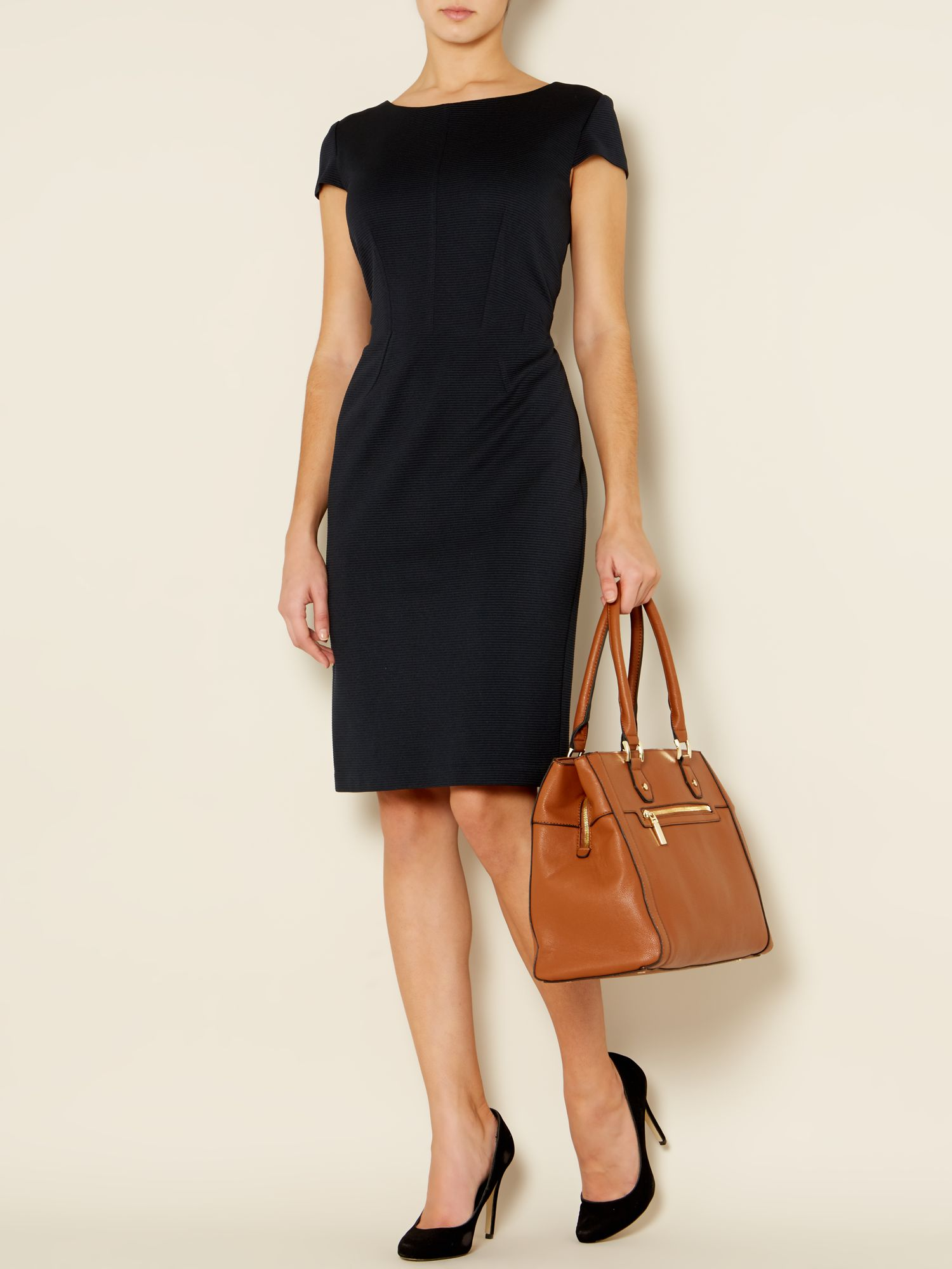 Cap sleeve woven rib dress