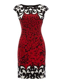 Cap sleeve print boarder dress