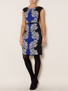 Cap sleeve mix print woven dress