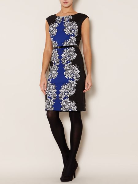 Linea Cap sleeve mix print woven dress