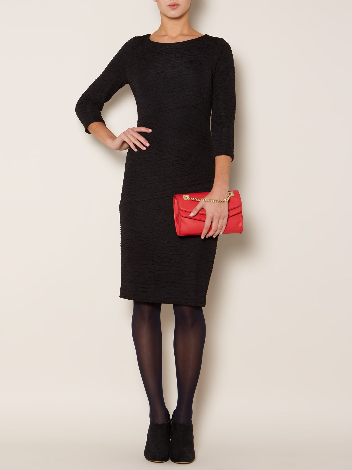 Long sleeve textured cutabout jersey dress