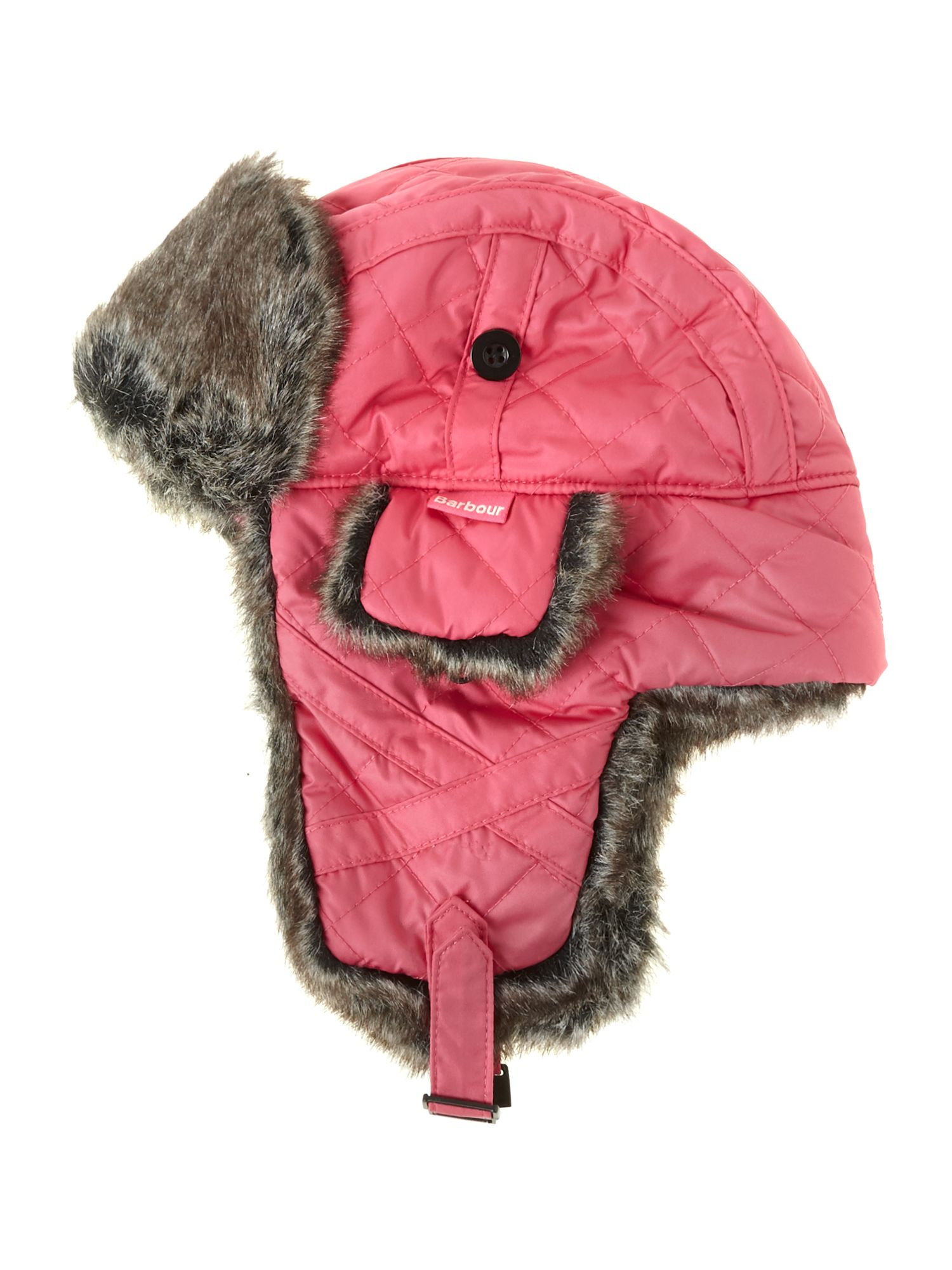 Girl`s quilted nylon fur hunter hat