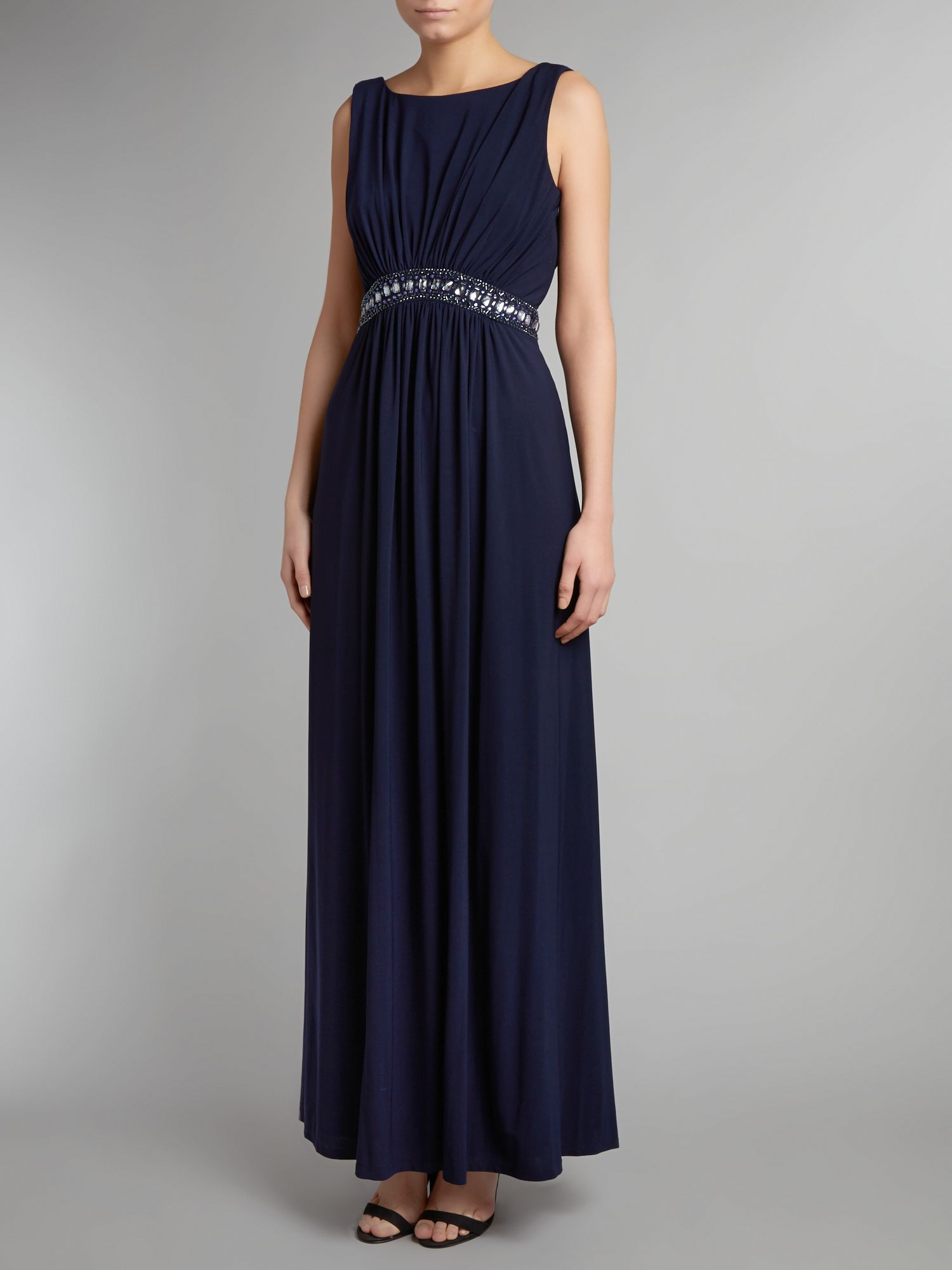 Diamonte waist drape back dress
