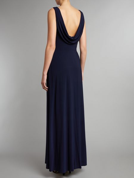 Eliza J Diamante waist drape back dress