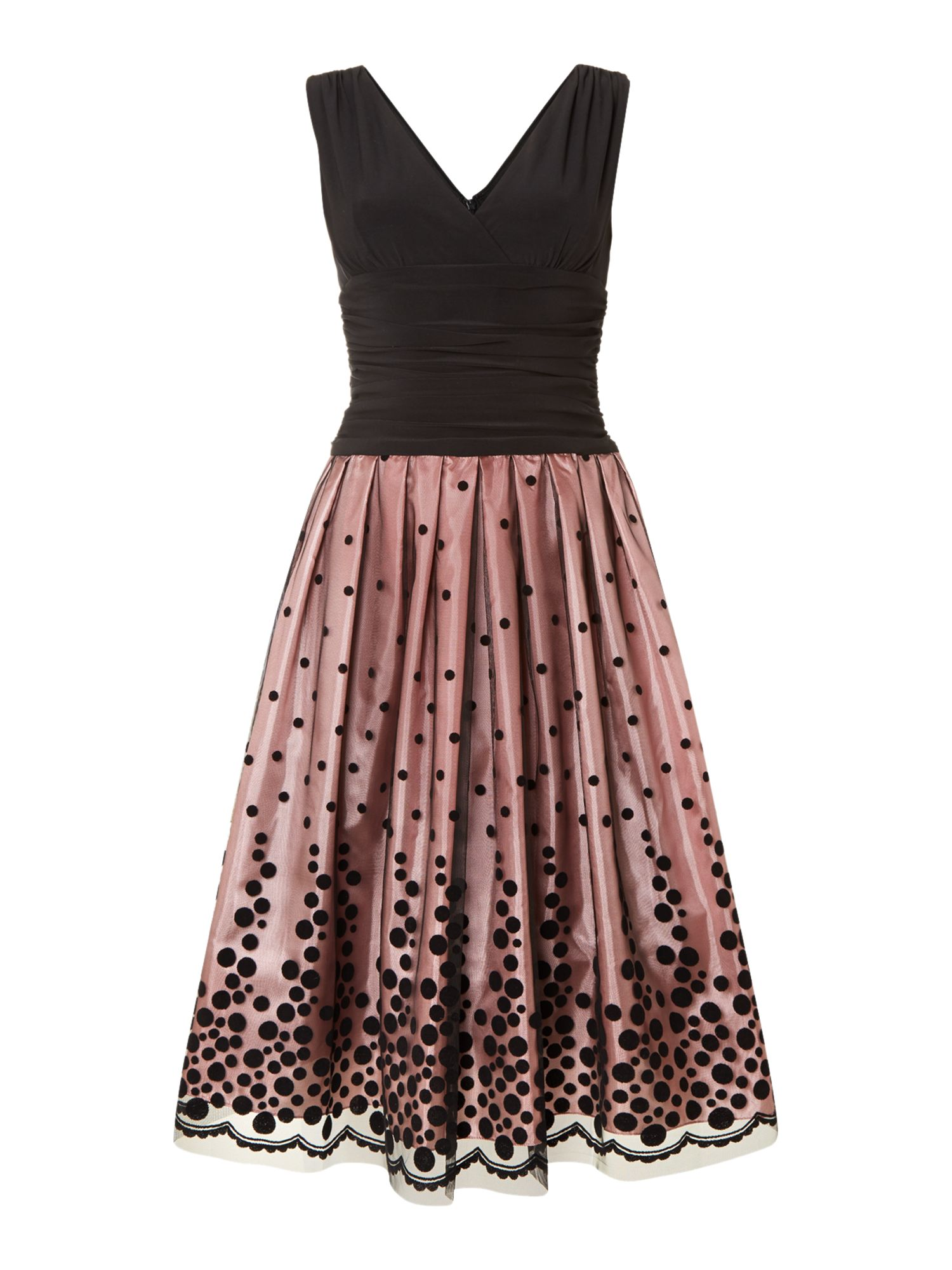 Graduated Spot Hem 50`s Style Dress