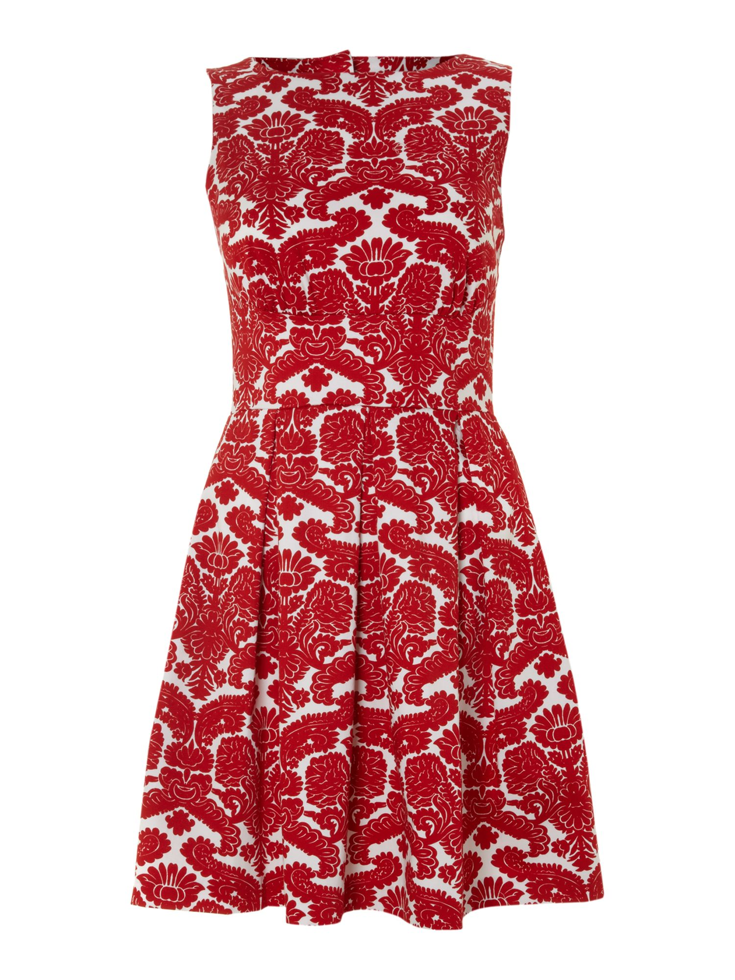 Cut out back print pleat dress
