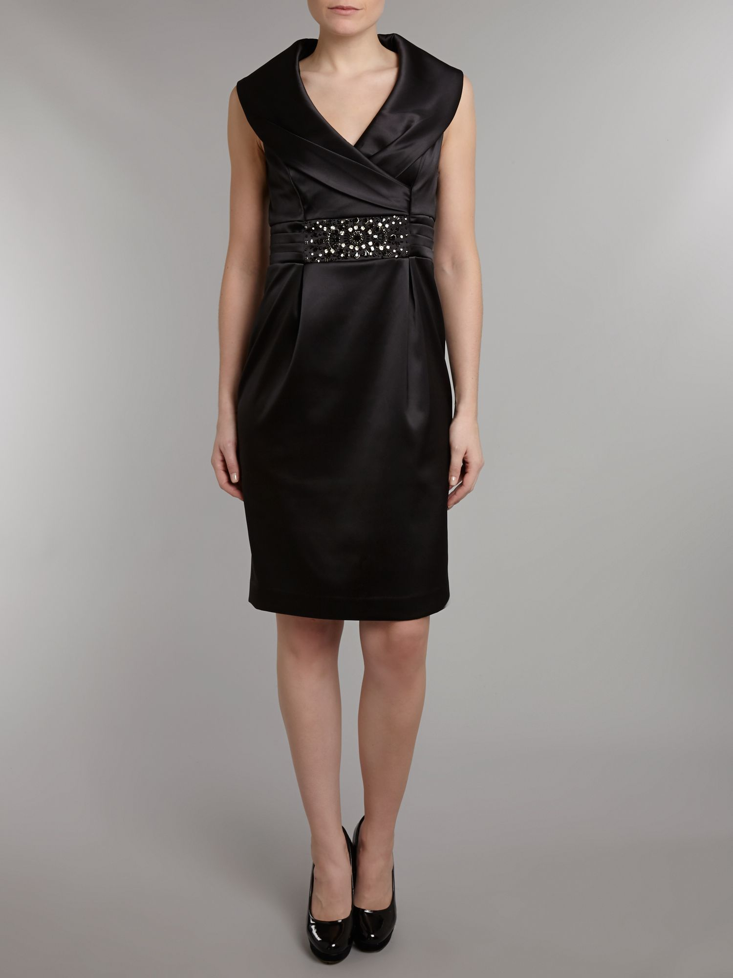 Portrait Collar Satin Shift Dress