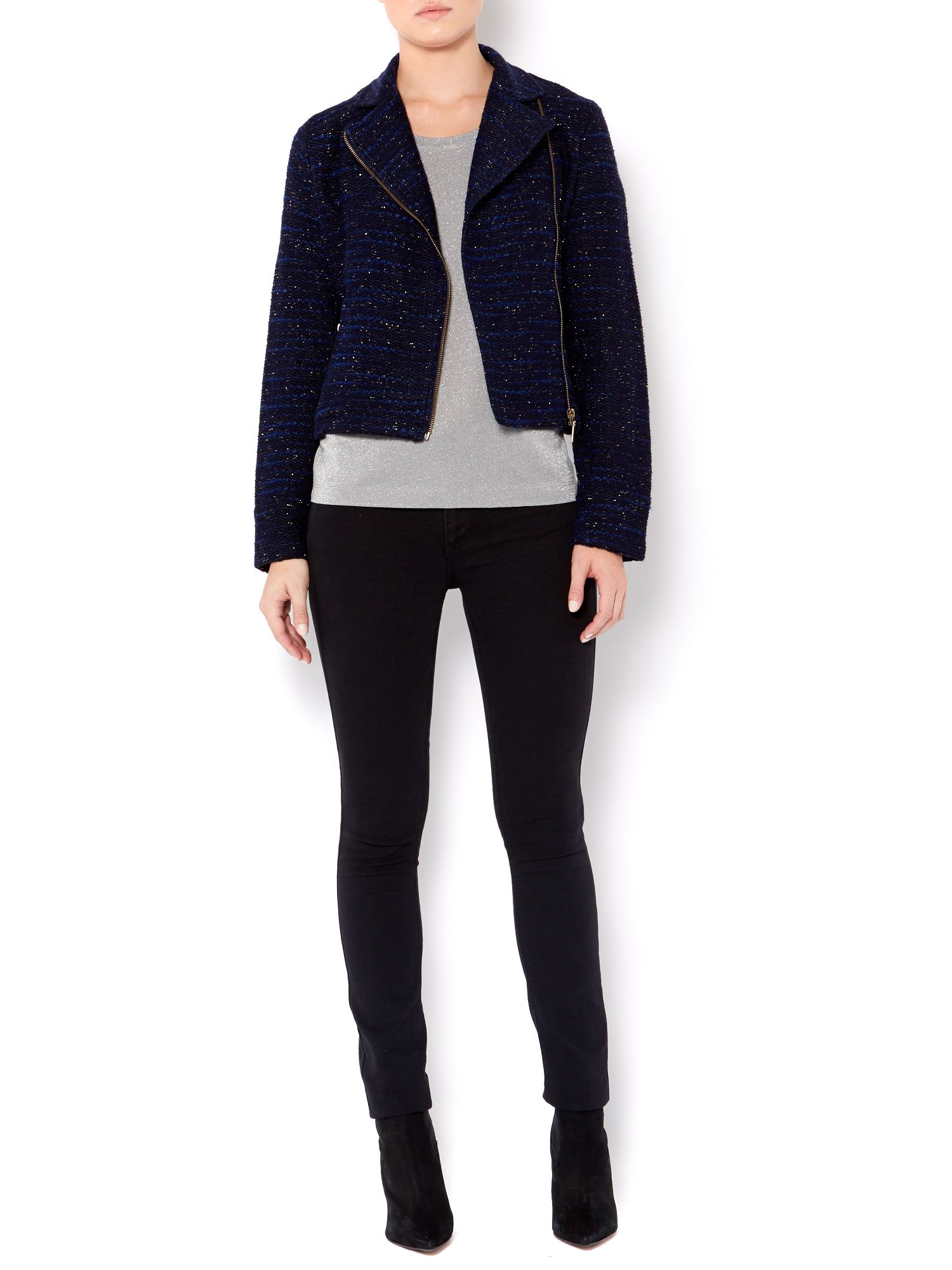 Ladies boucle biker jacket