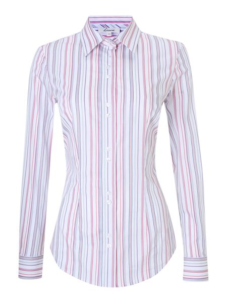Linea Hawes and curtis multi col stripe stretch shirt
