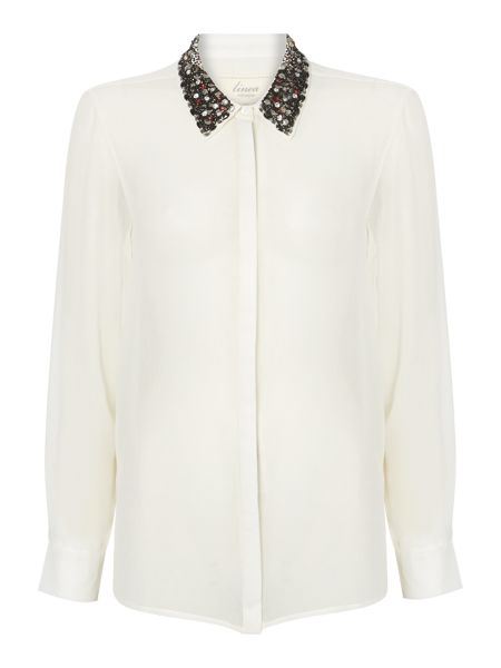 Linea Weekend Embellished collar blouse