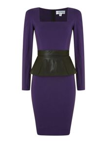 Long Sleeved Peplum Midi Dress