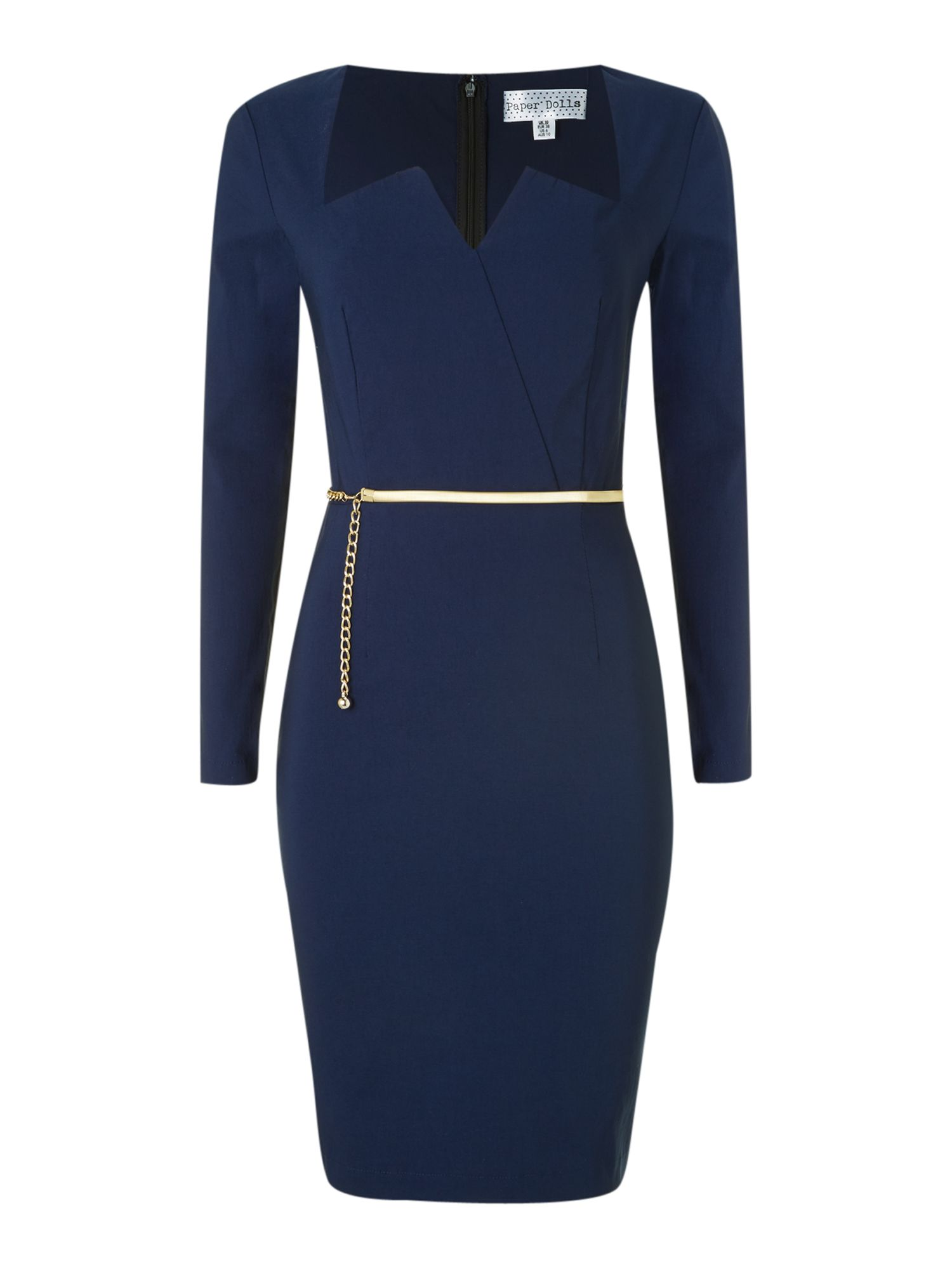 Long Sleeved Plunge Neckline Midi Dress