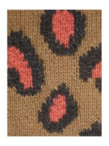 Leopard print intarsia long snood