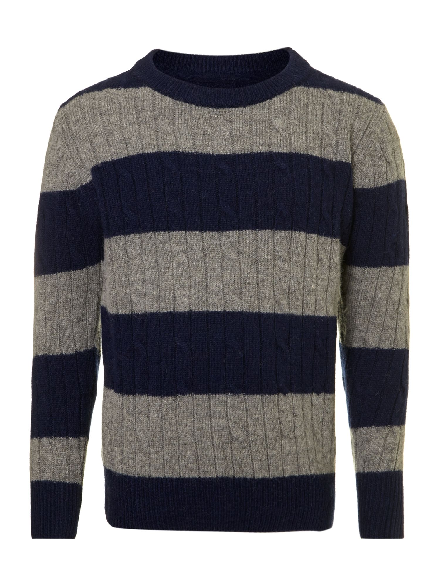 Boy`s cable knit striped jumper