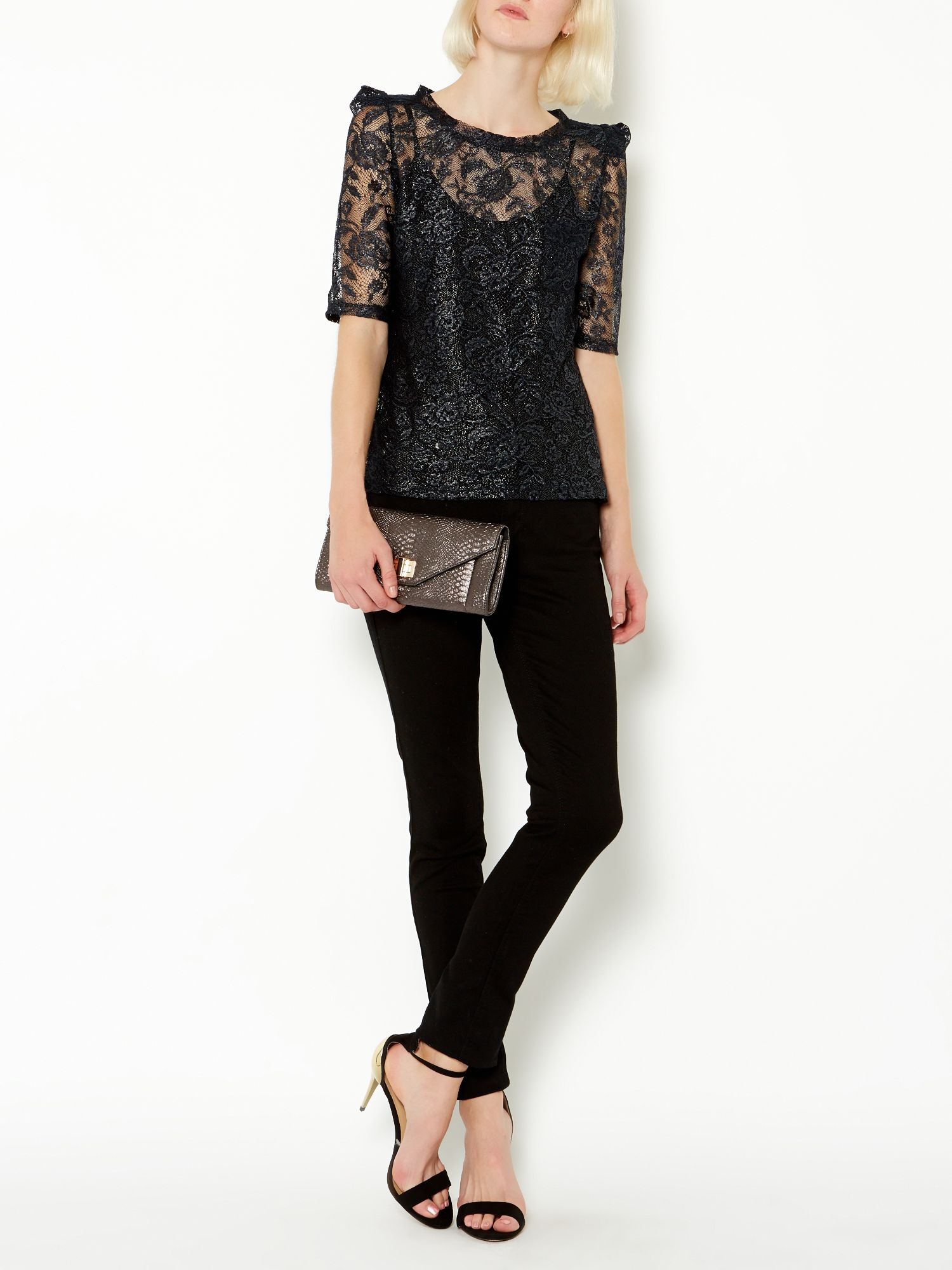 Metallic lace shell top