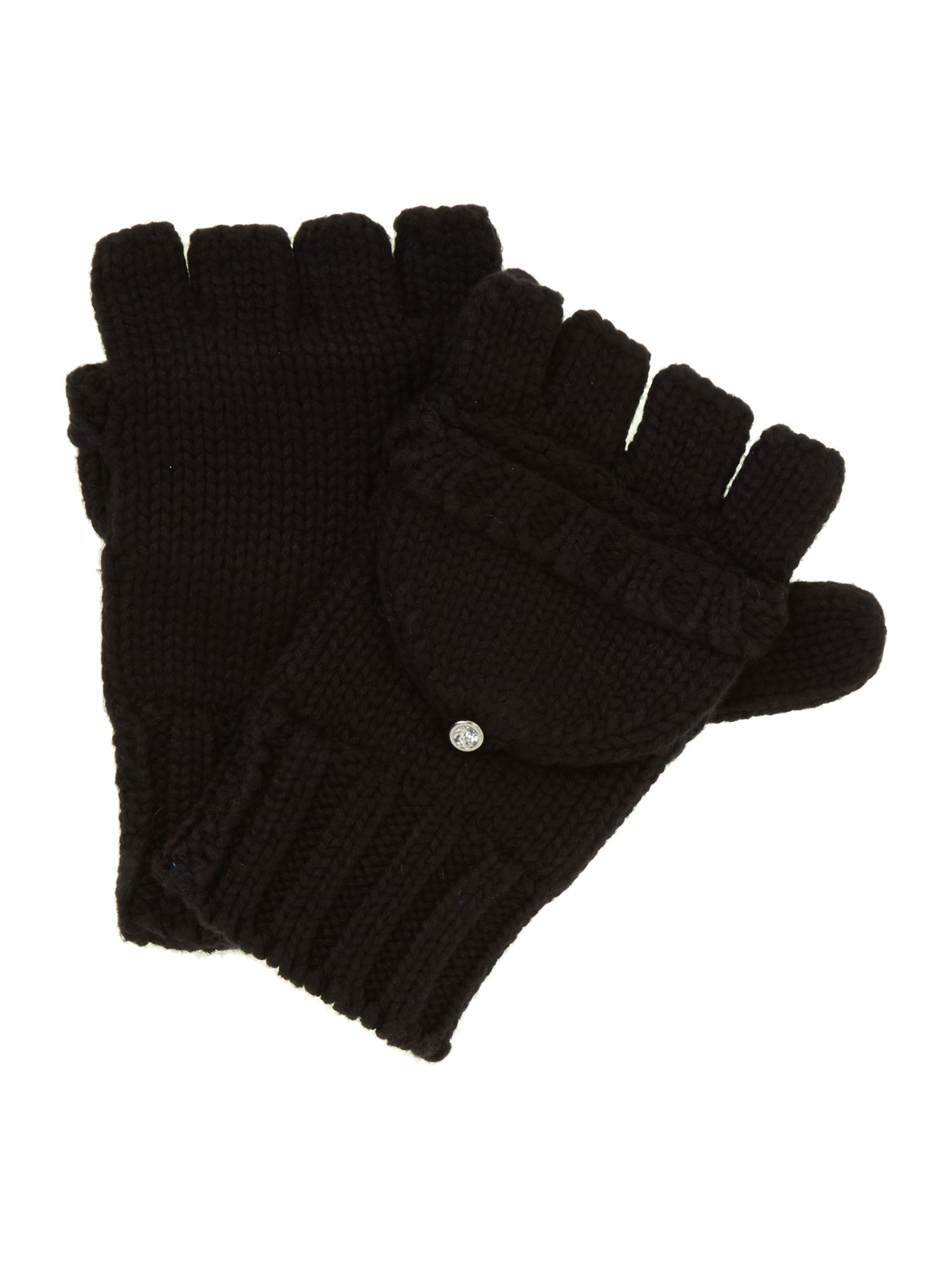 Girl`s knitted fingerless mittens