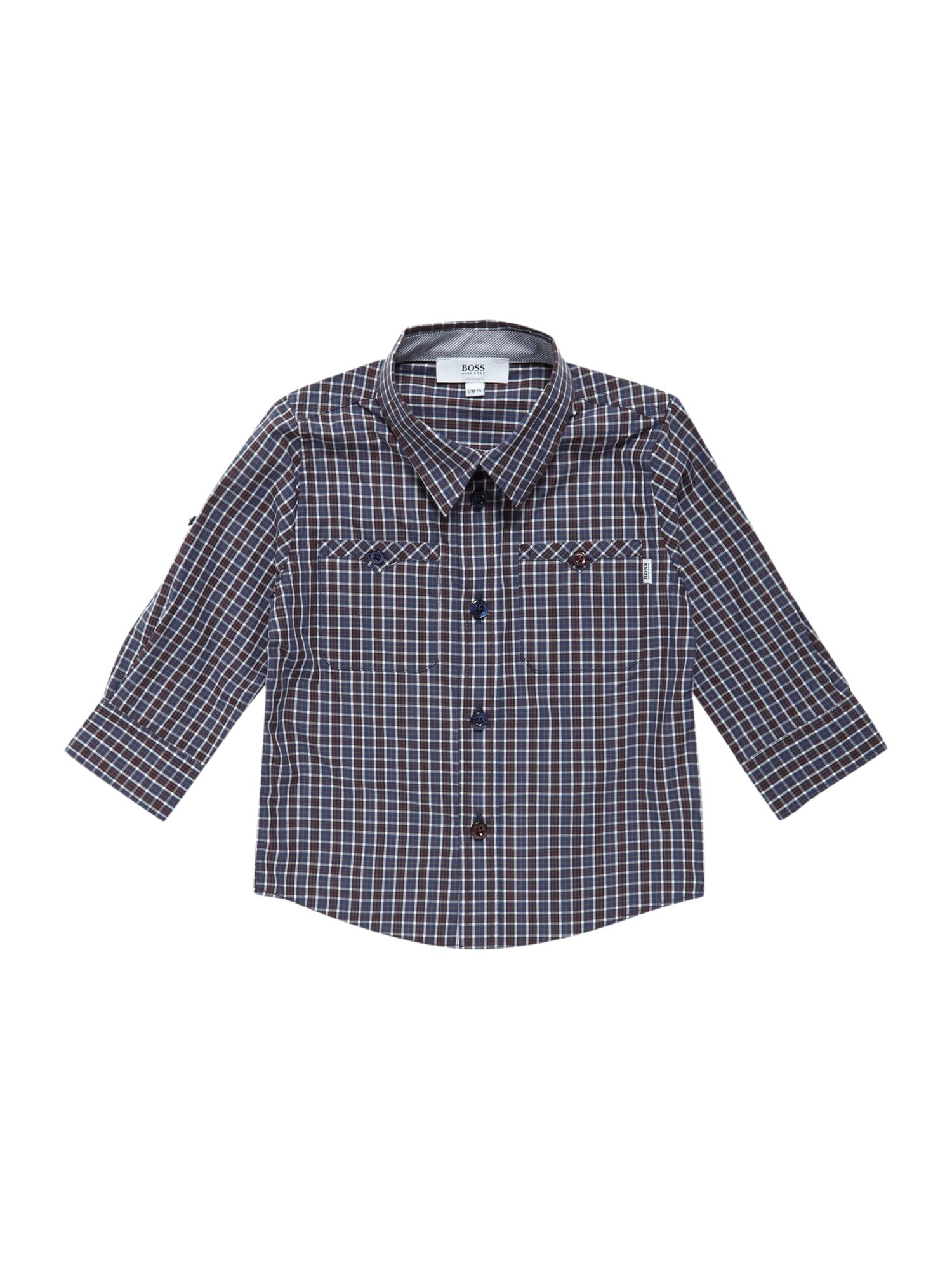 Boy`s check poplin long sleeve shirt