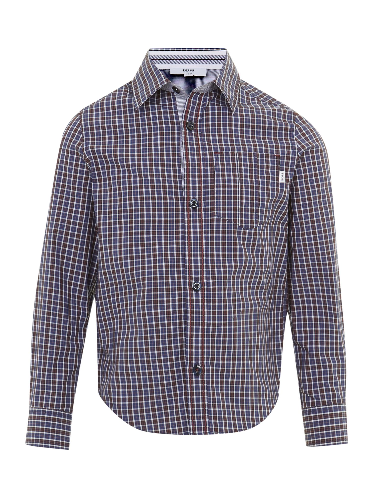Boy`s poplin check long sleeve shirt