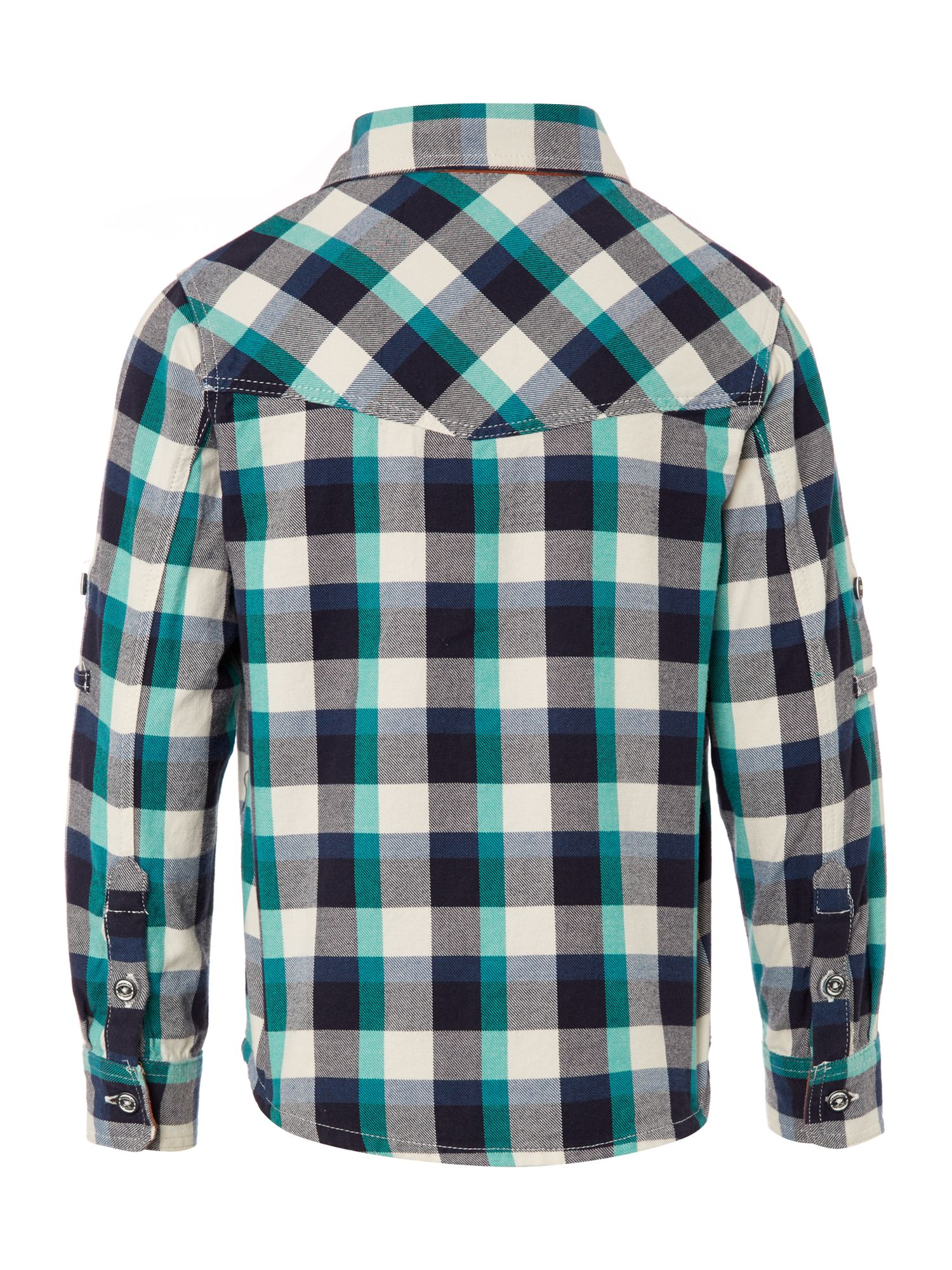 Boy`s check twill short sleeve shirt