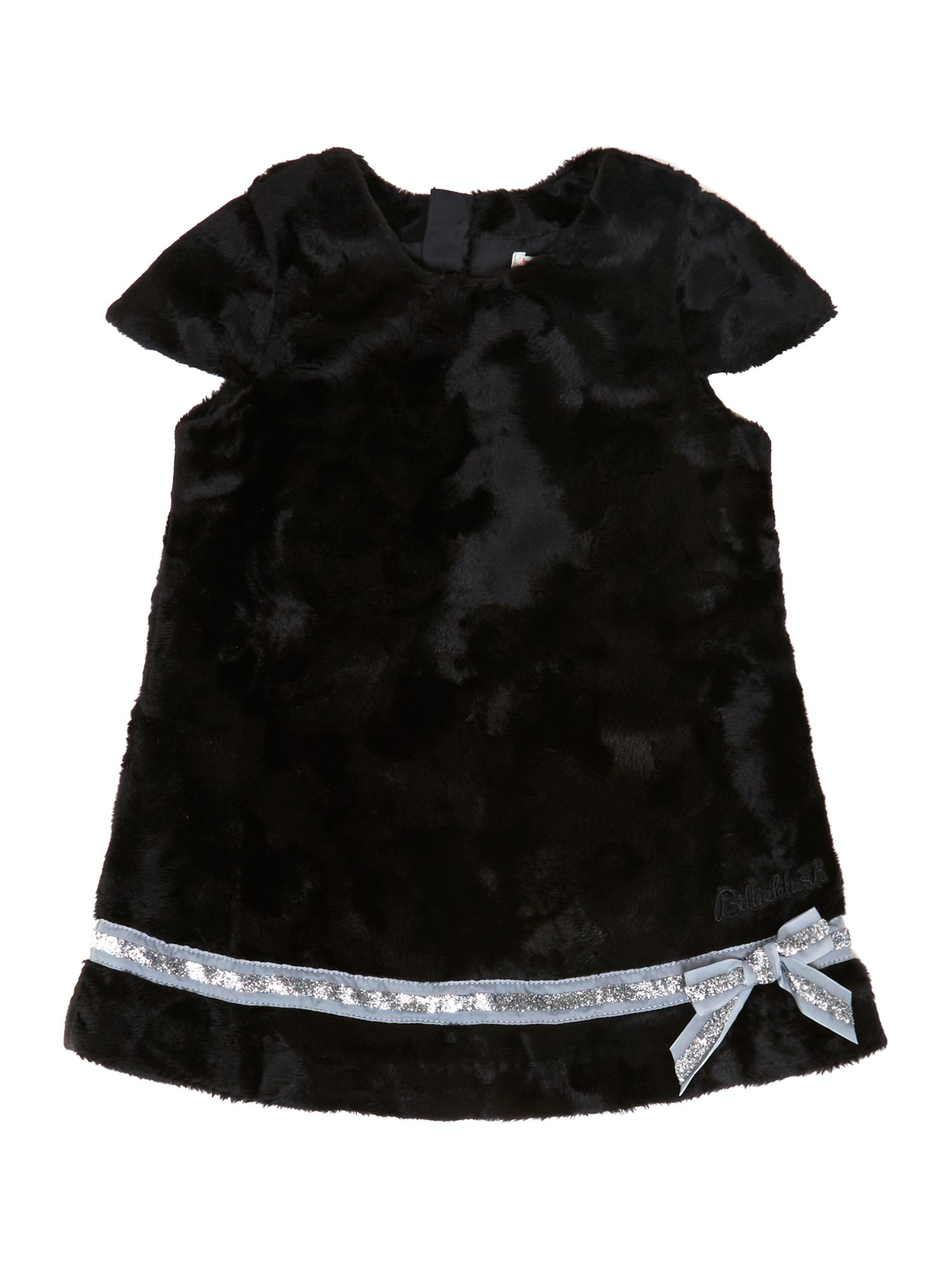 Girl`s faux foal fur short sleeve dress