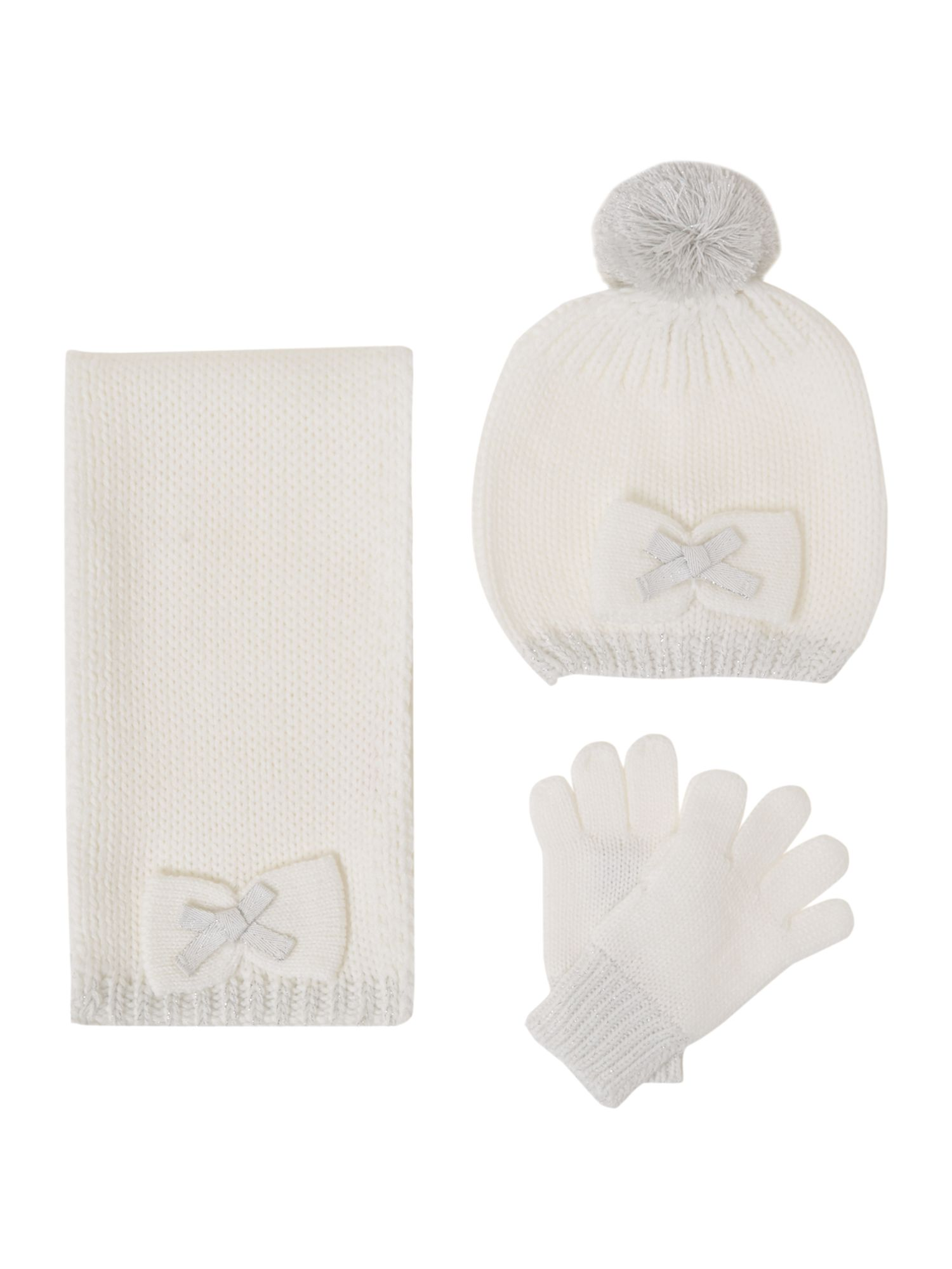 Girl`s hat scarf and gloves set
