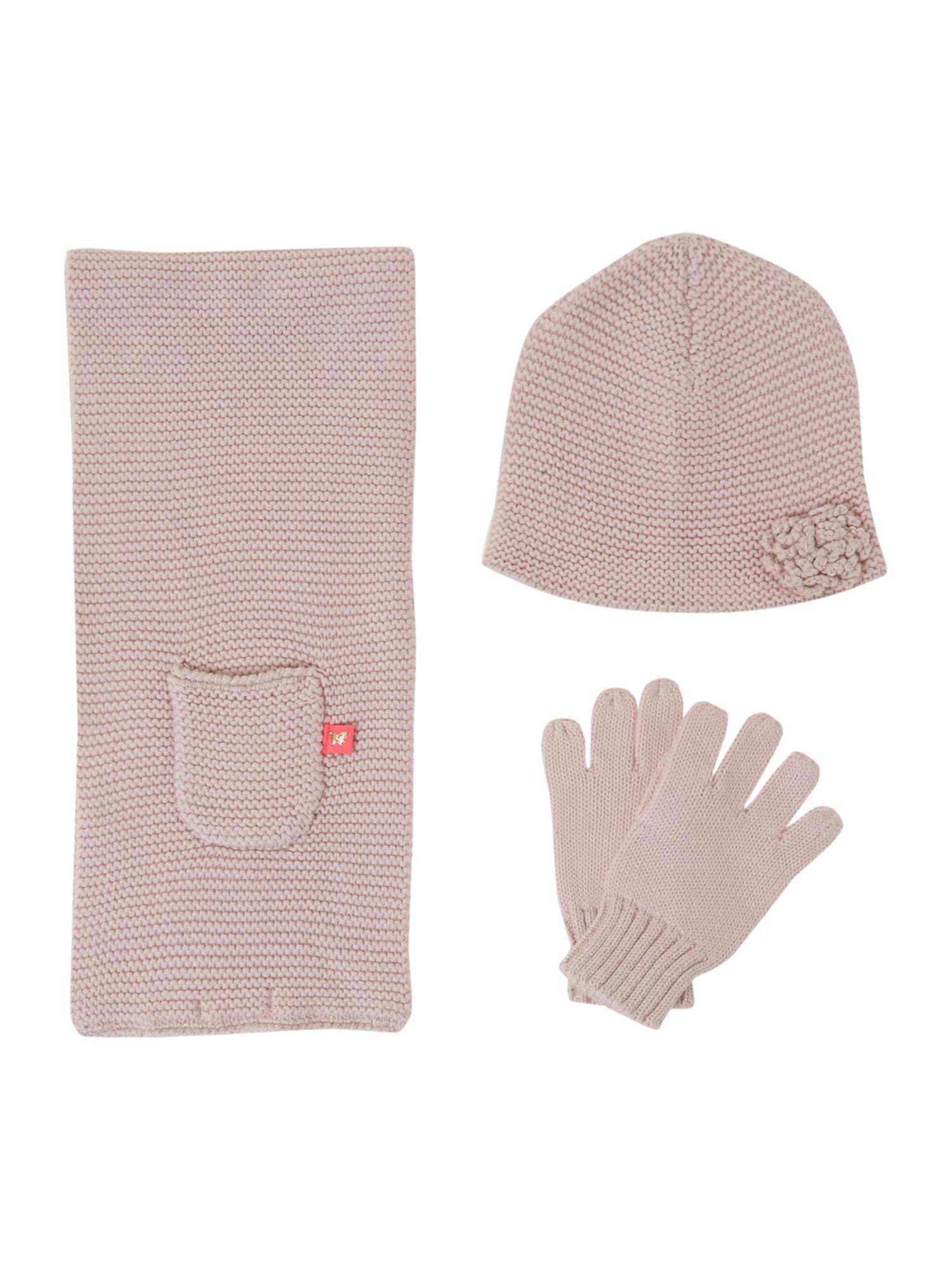 Girl`s knitted hat and scarf set