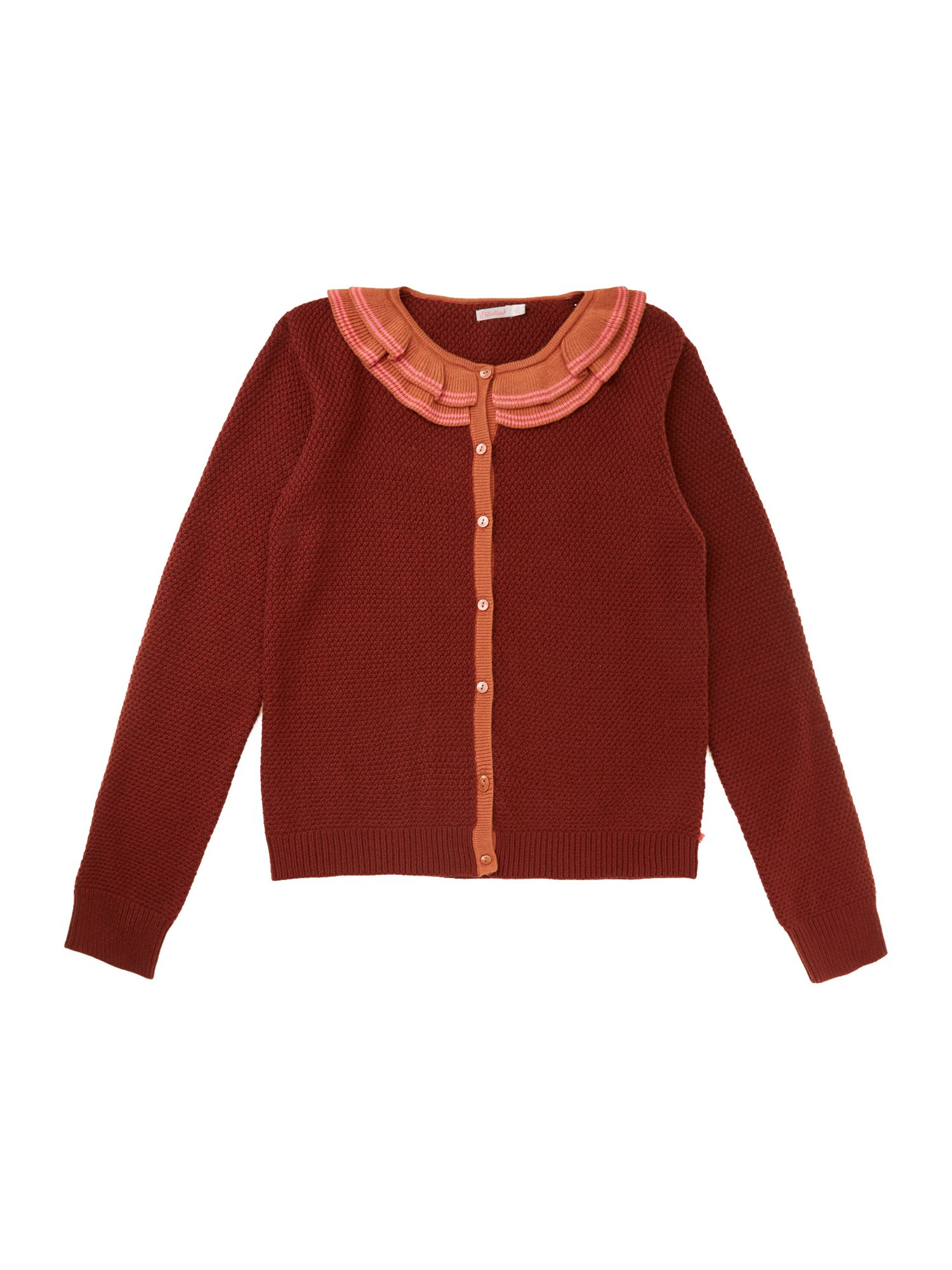 Girl`s fancy neckline knitted cardigan