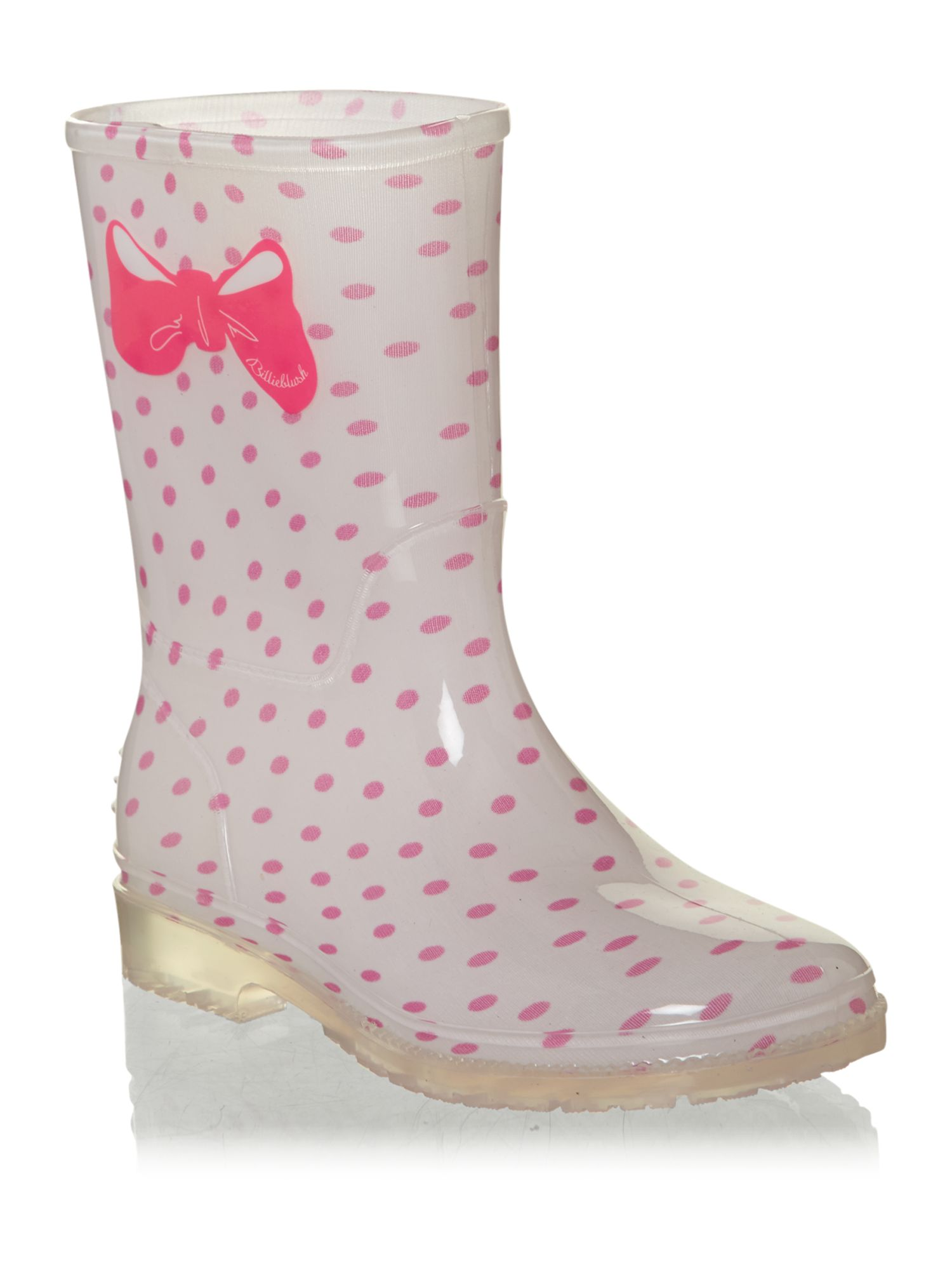 Girl`s polka wellington boots