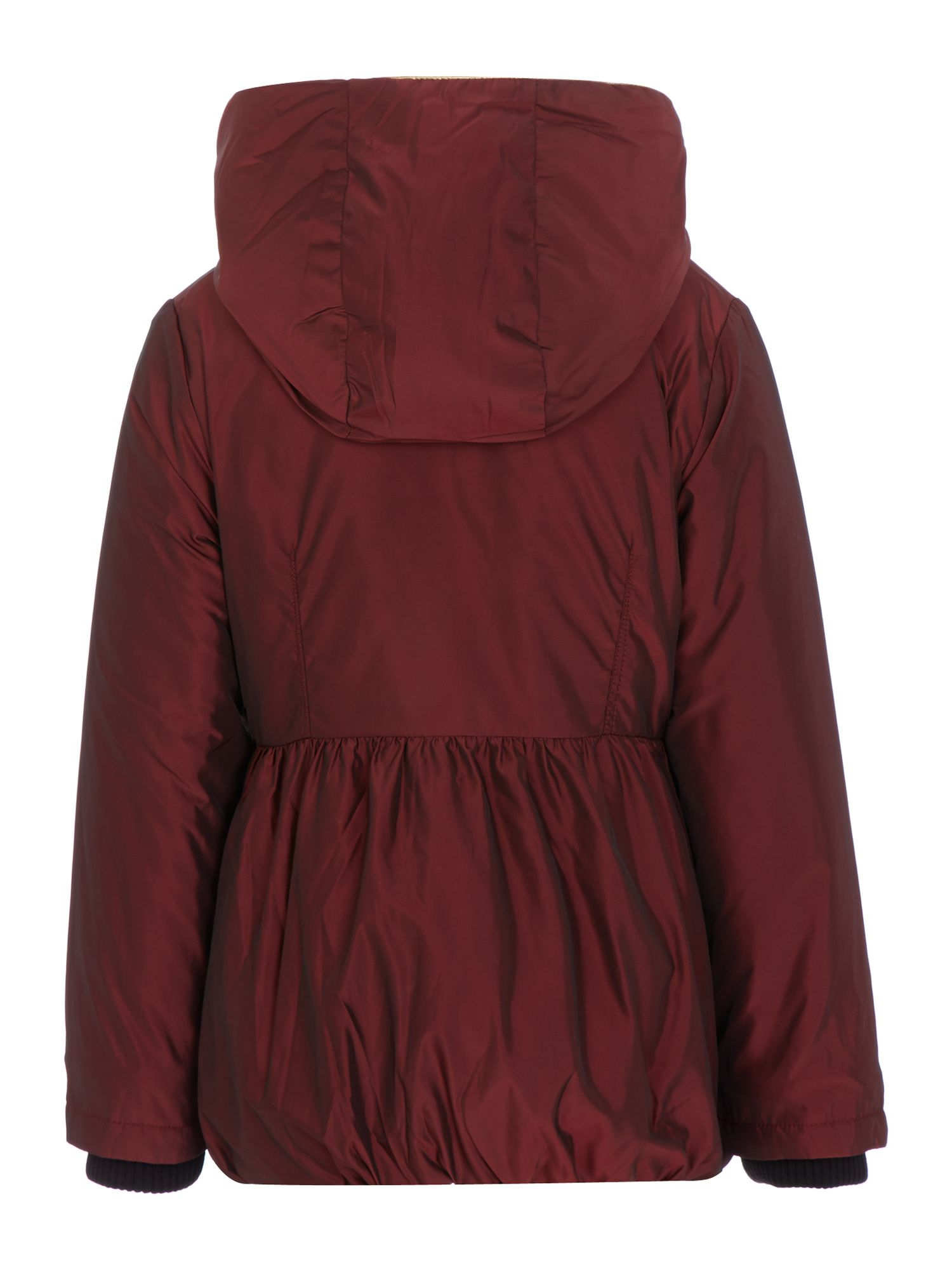 Girl`s hooded long sleeve parka