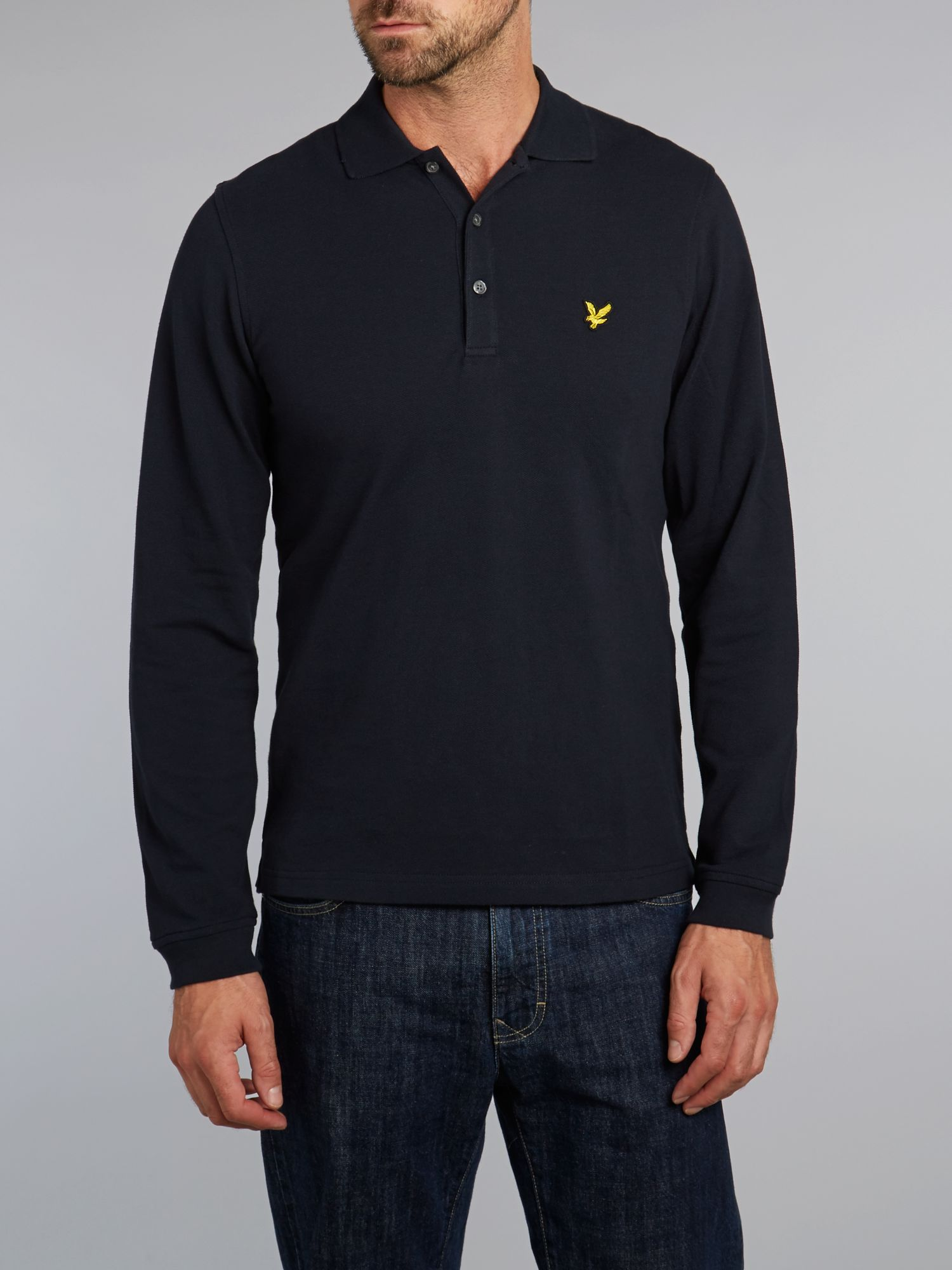 Regular fit long sleeve polo shirt