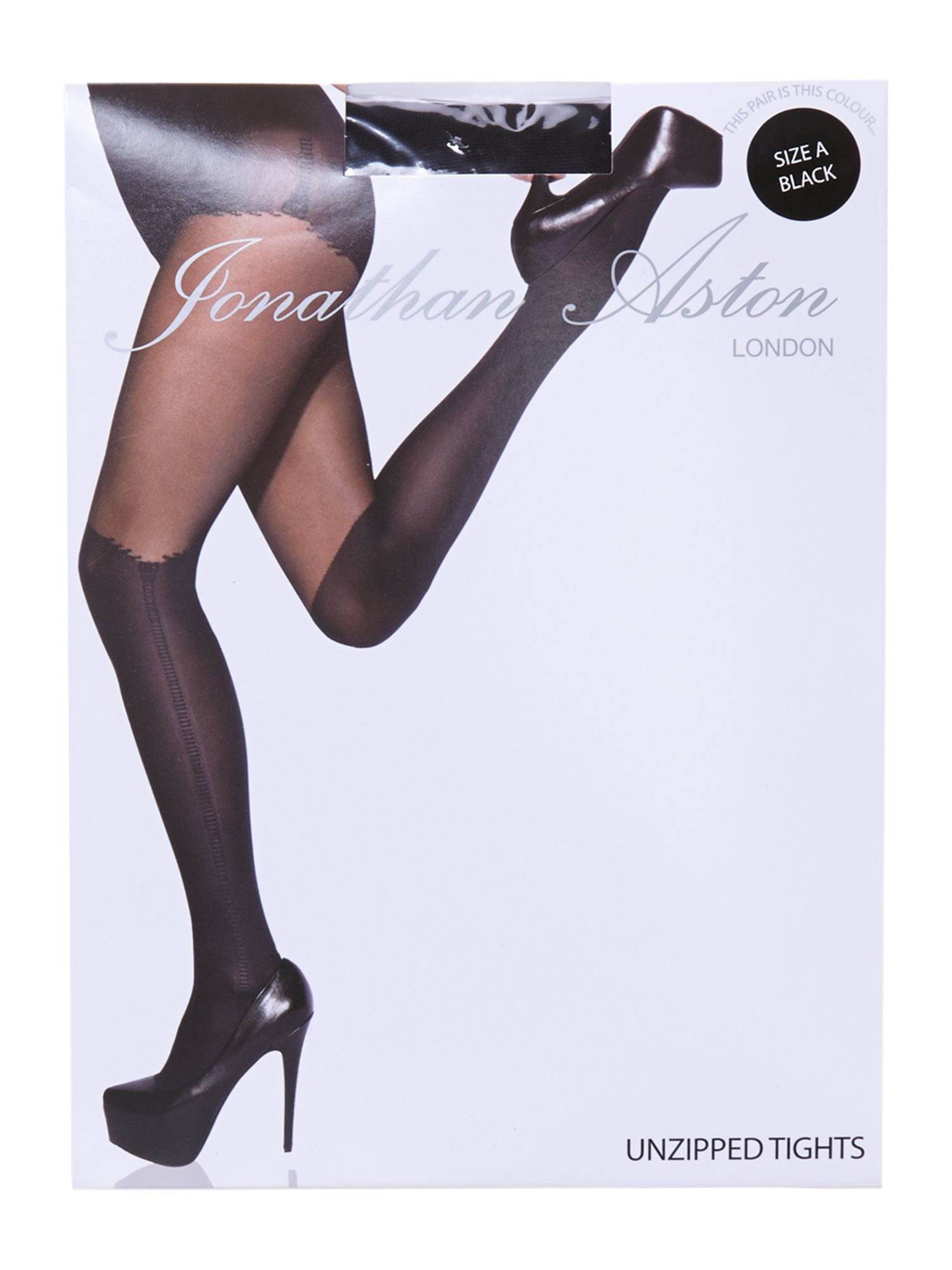 Unzipped mock suspender tights