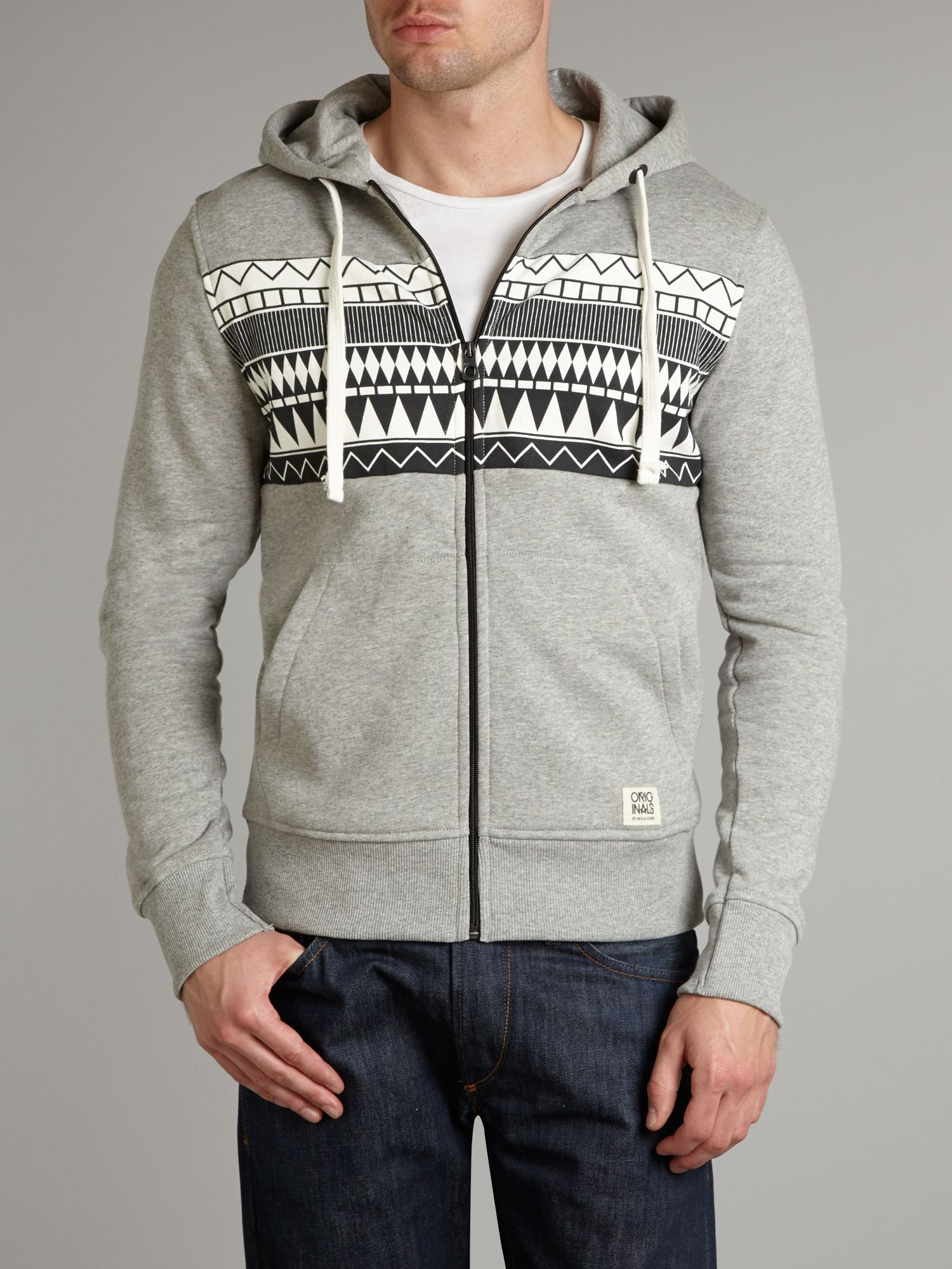 Aztec stripe hooded sweat