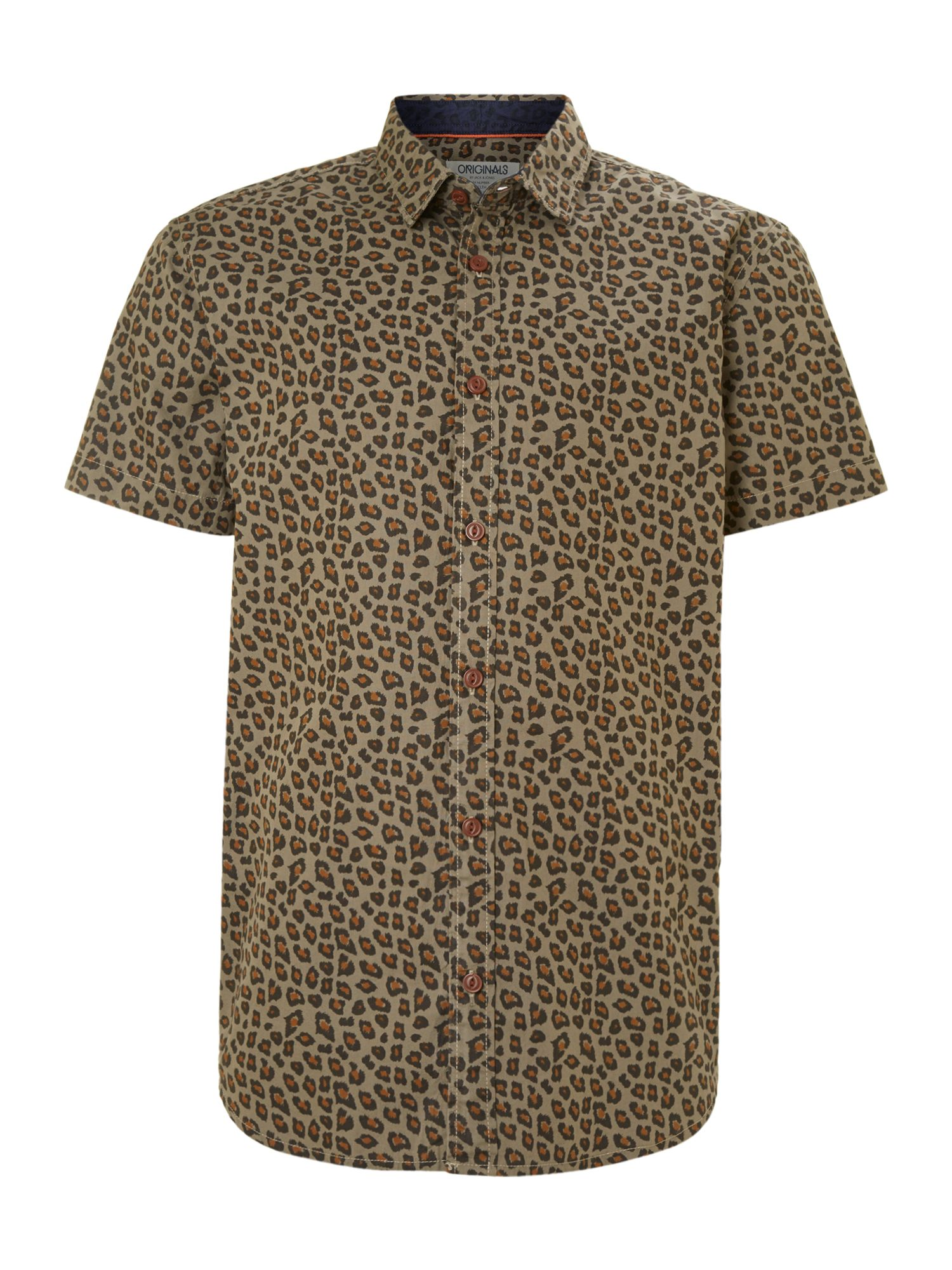 Short-sleeved animal print shirt
