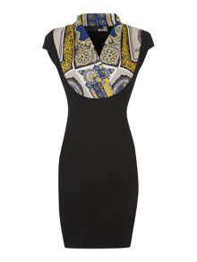 Cap Sleeve Dress with print scarf detail