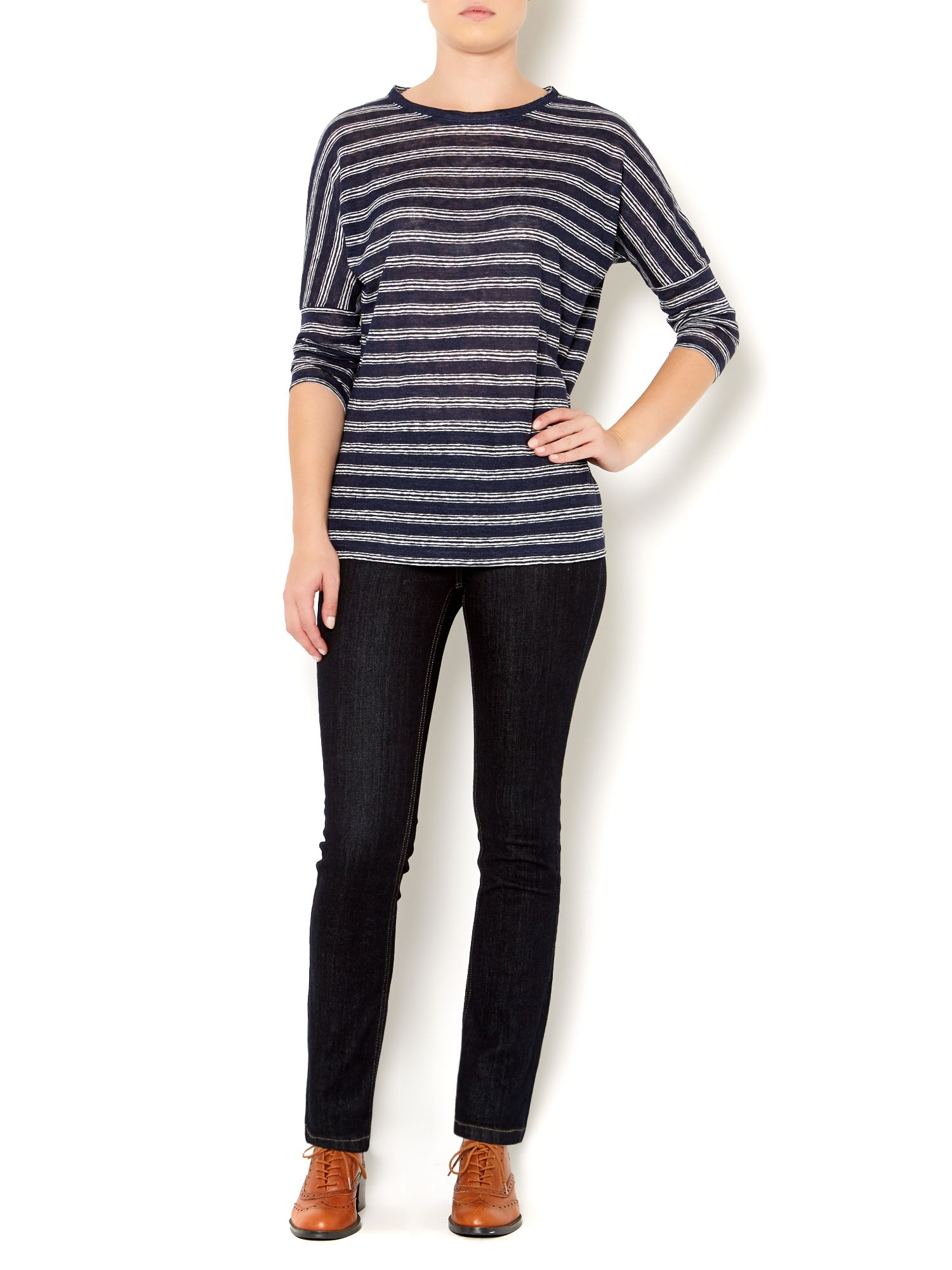 Linen stripe jersey top