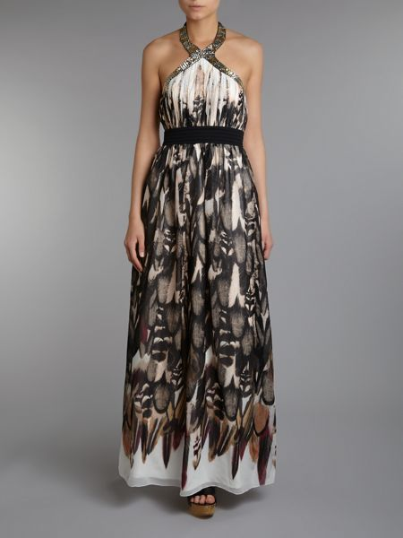 Little Mistress Halterneck print maxi dress
