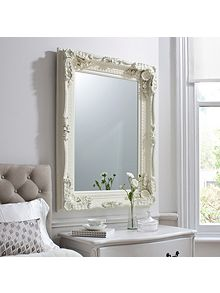 carved louis wall mirror cream. Black Bedroom Furniture Sets. Home Design Ideas